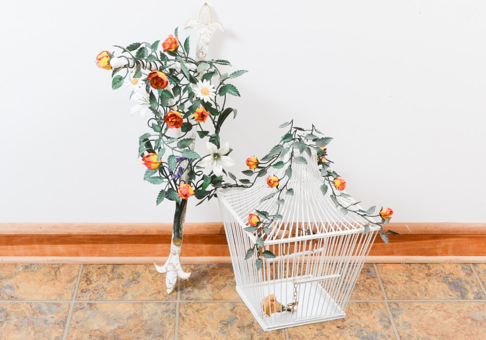 Tole Wrapped Vine Wall Hanging and Birdcage With Faux Birds