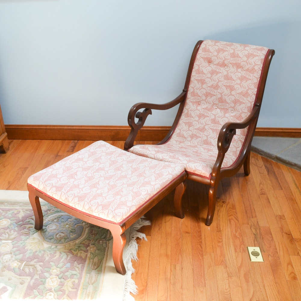 Empire Style Lounge Chair and Ottoman