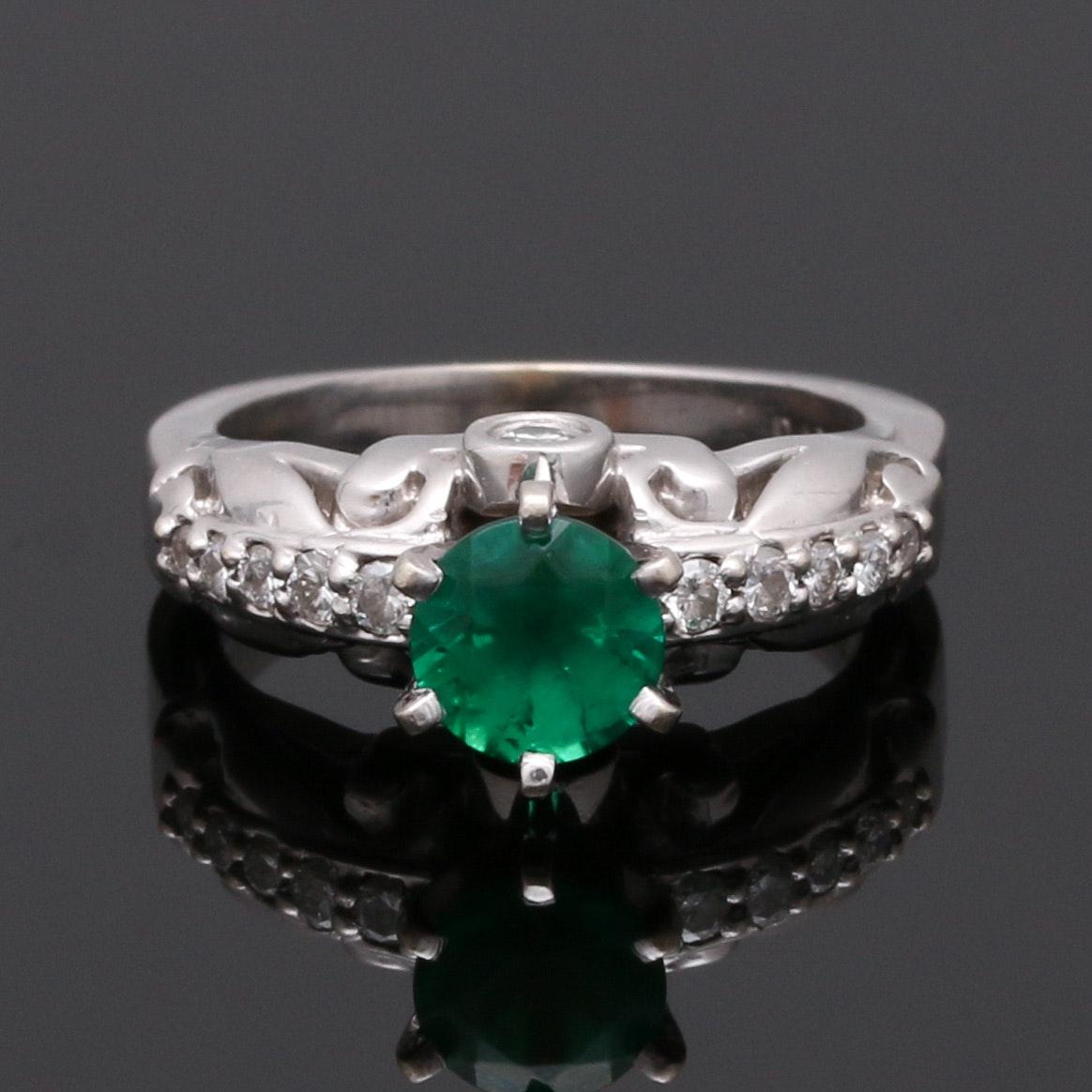 14K White Gold Emerald and Diamond Peg Head Ring