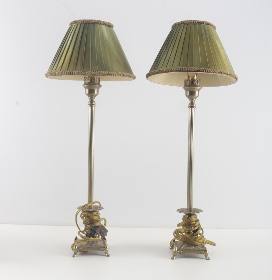 Brass table lamps with frederick cooper shades ebth brass table lamps with frederick cooper shades geotapseo Image collections