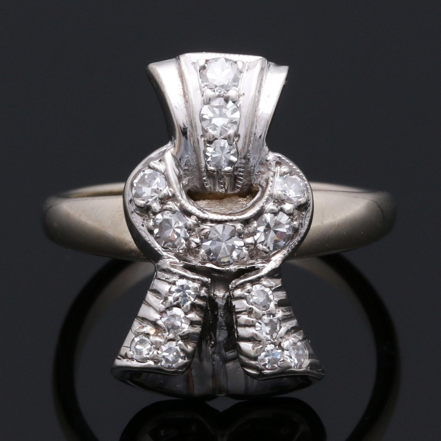 14K White Gold Diamond Knot Ring