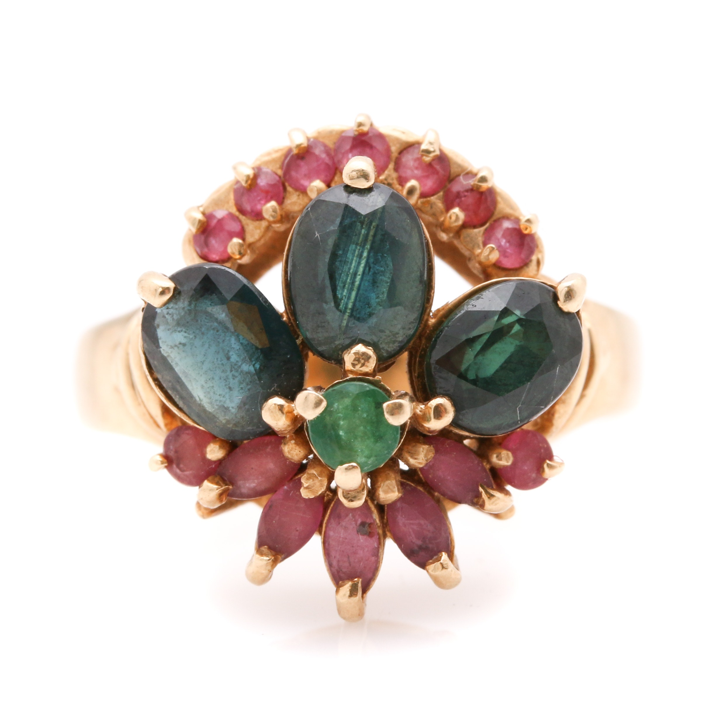 14K Yellow Gold Sapphire, Emerald, and Ruby Foliate Ring