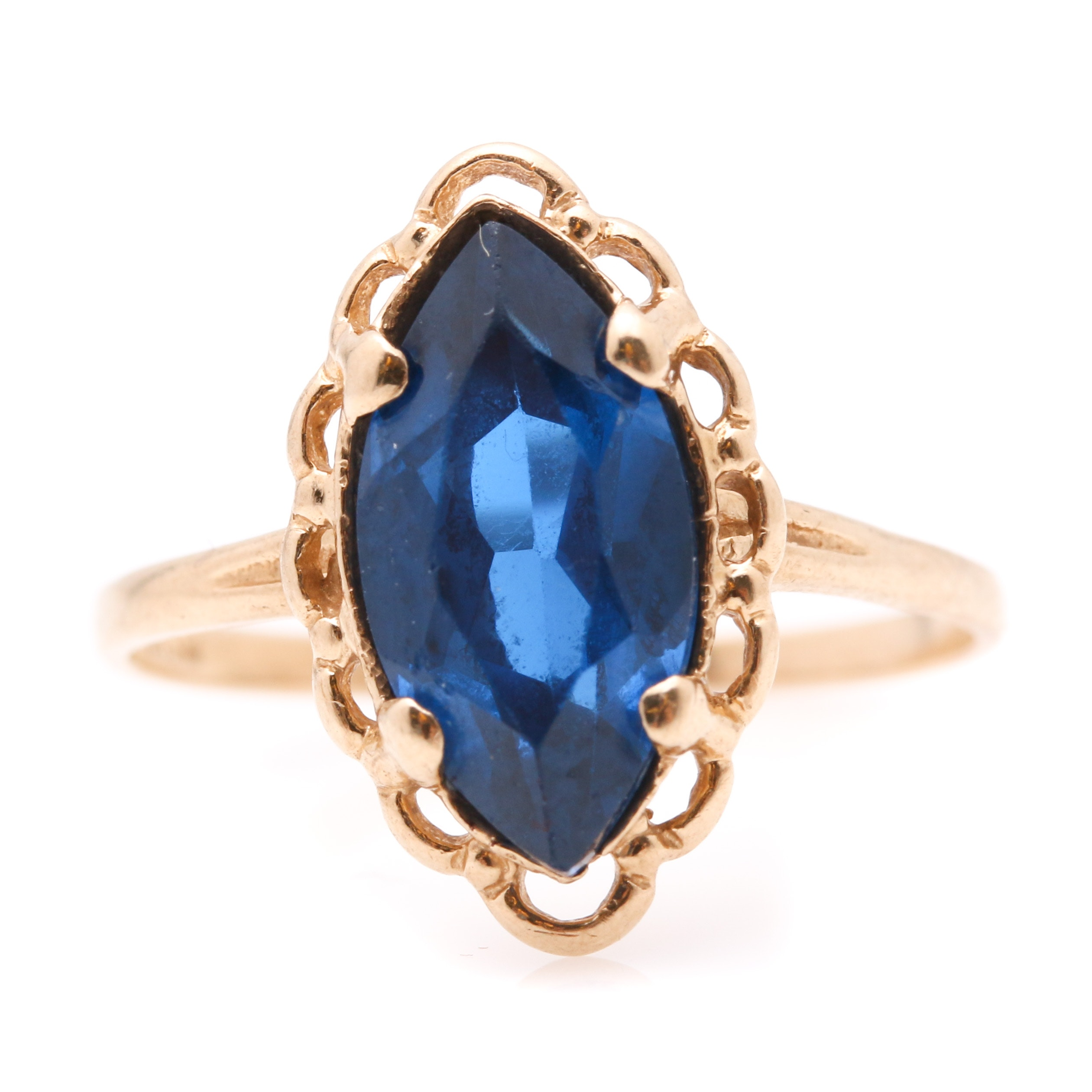 10K Yellow Gold Blue Spinel Ring