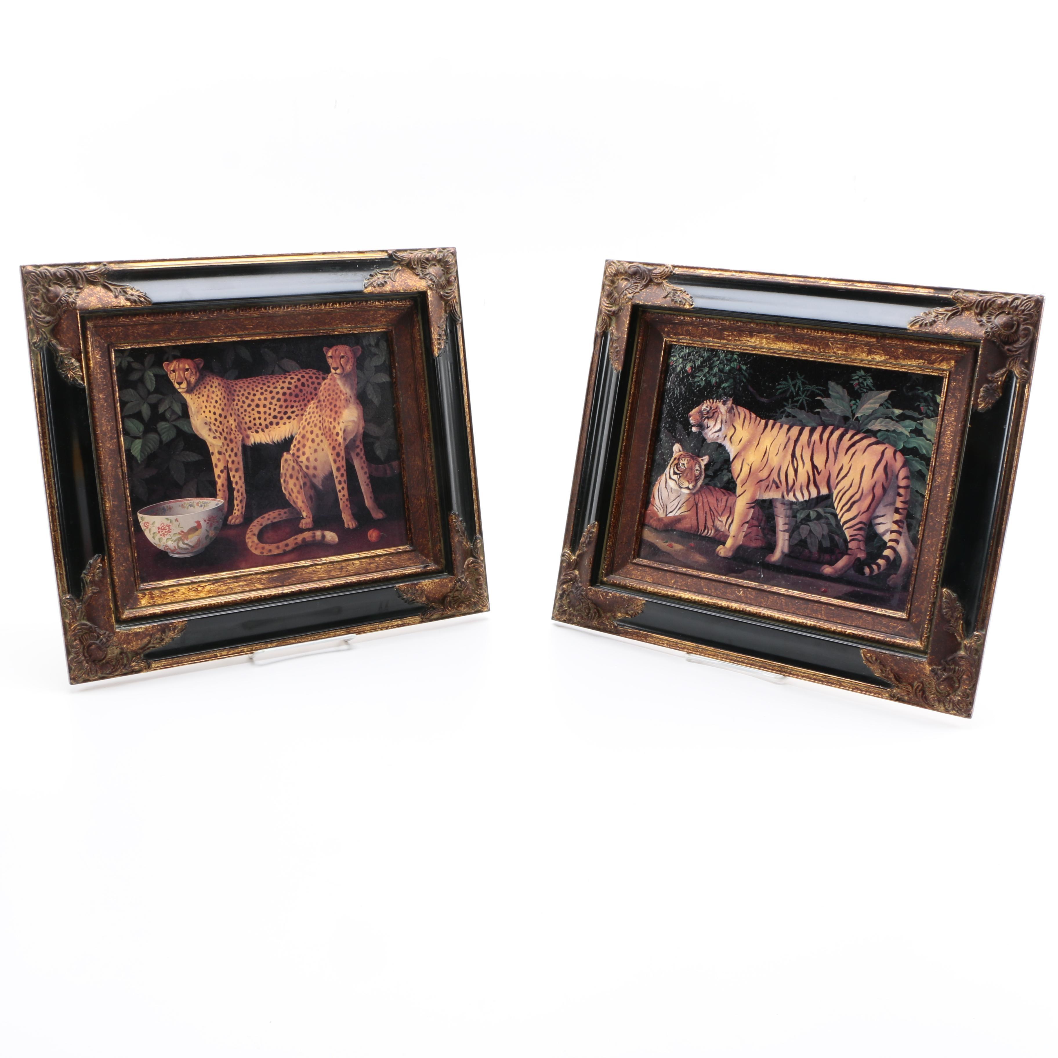 Ballard Designs Framed Offset Lithographs of Big Cats