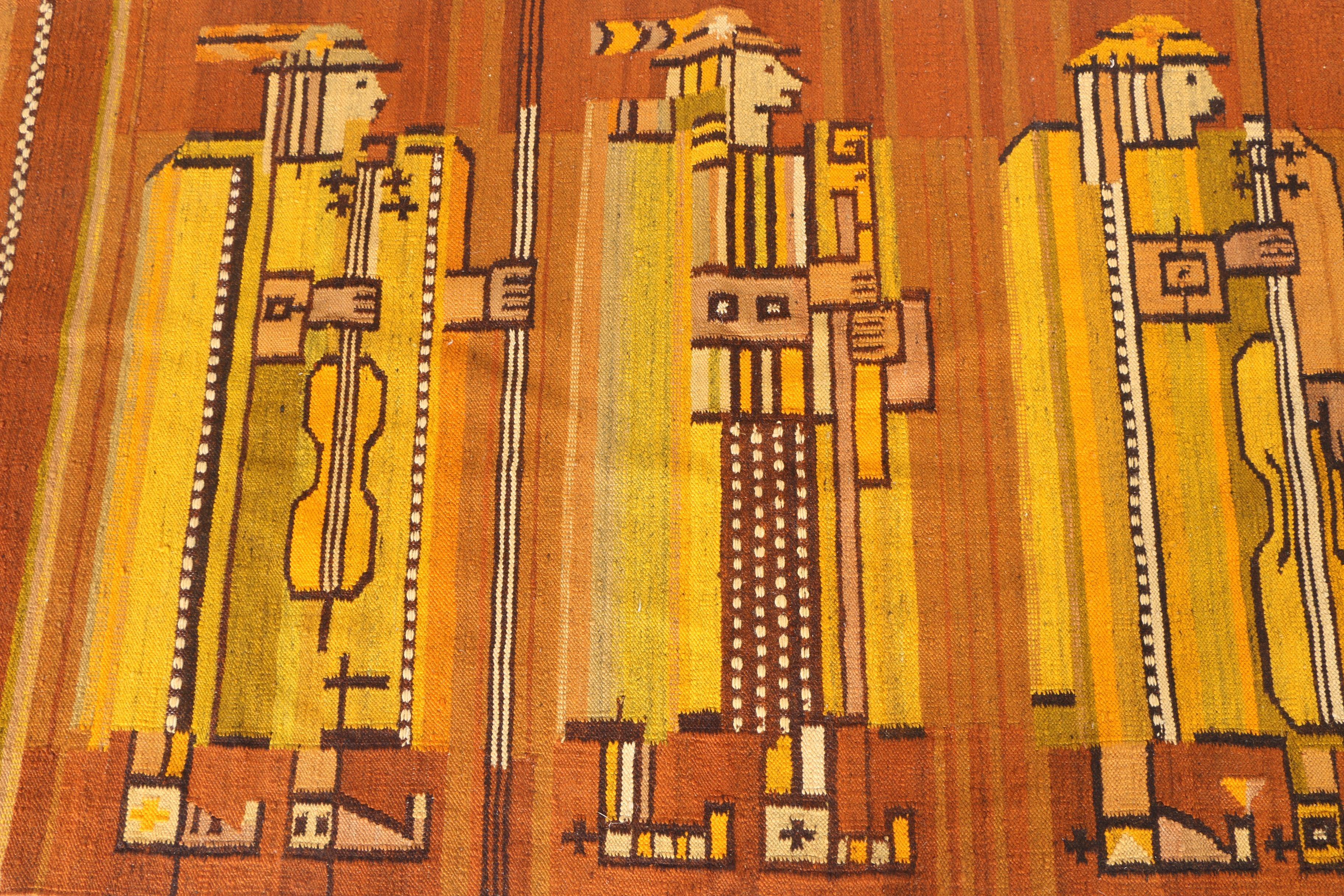 Handwoven Polish Kilim Figural Area Rug
