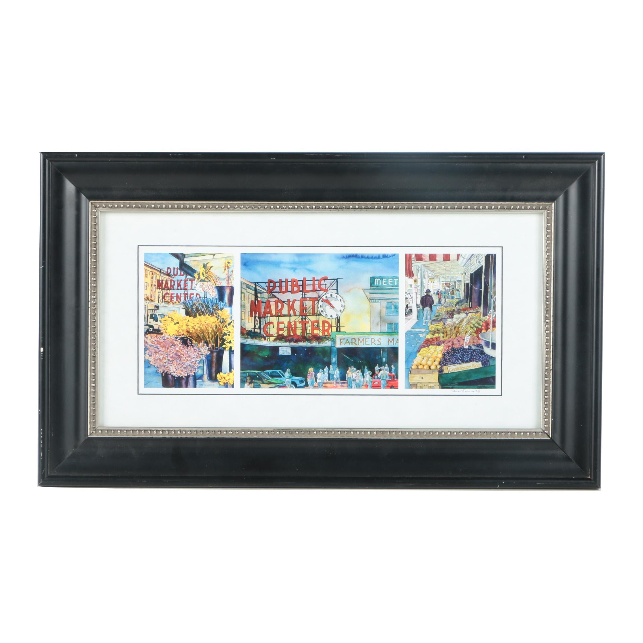 After Eberhardt Signed Offset Lithograph Print on Paper Watercolor Paintings of Pike Place Market