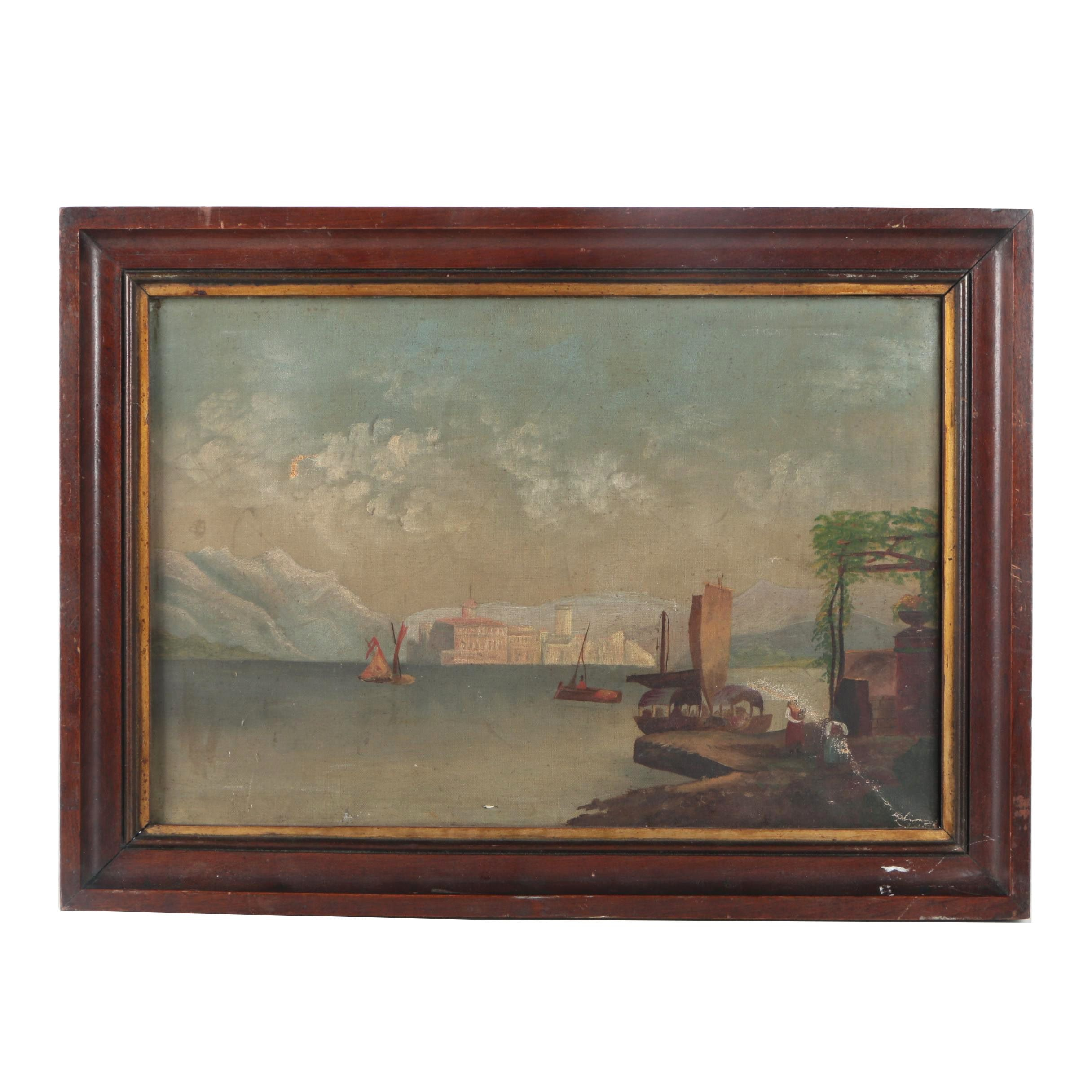 Oil Painting of a Lakeside City