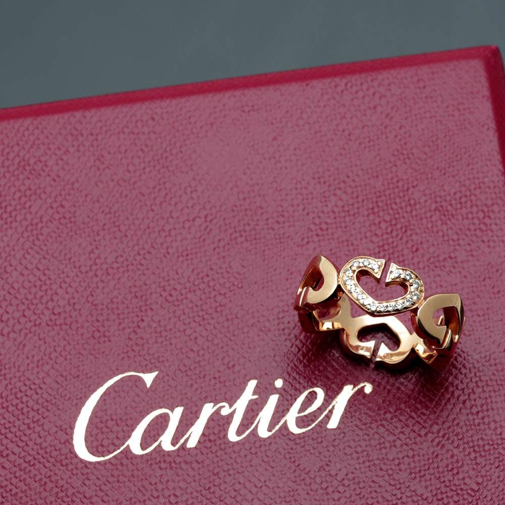 "Cartier 18K Yellow Gold Diamond ""Hearts and Symbols"" Ring"