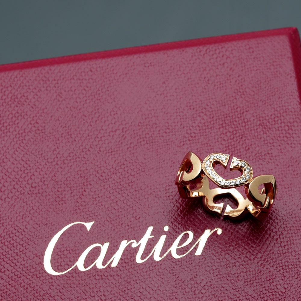 "Cartier 18K Yellow Gold Diamond ""Hearts and Symbols"" Ring"