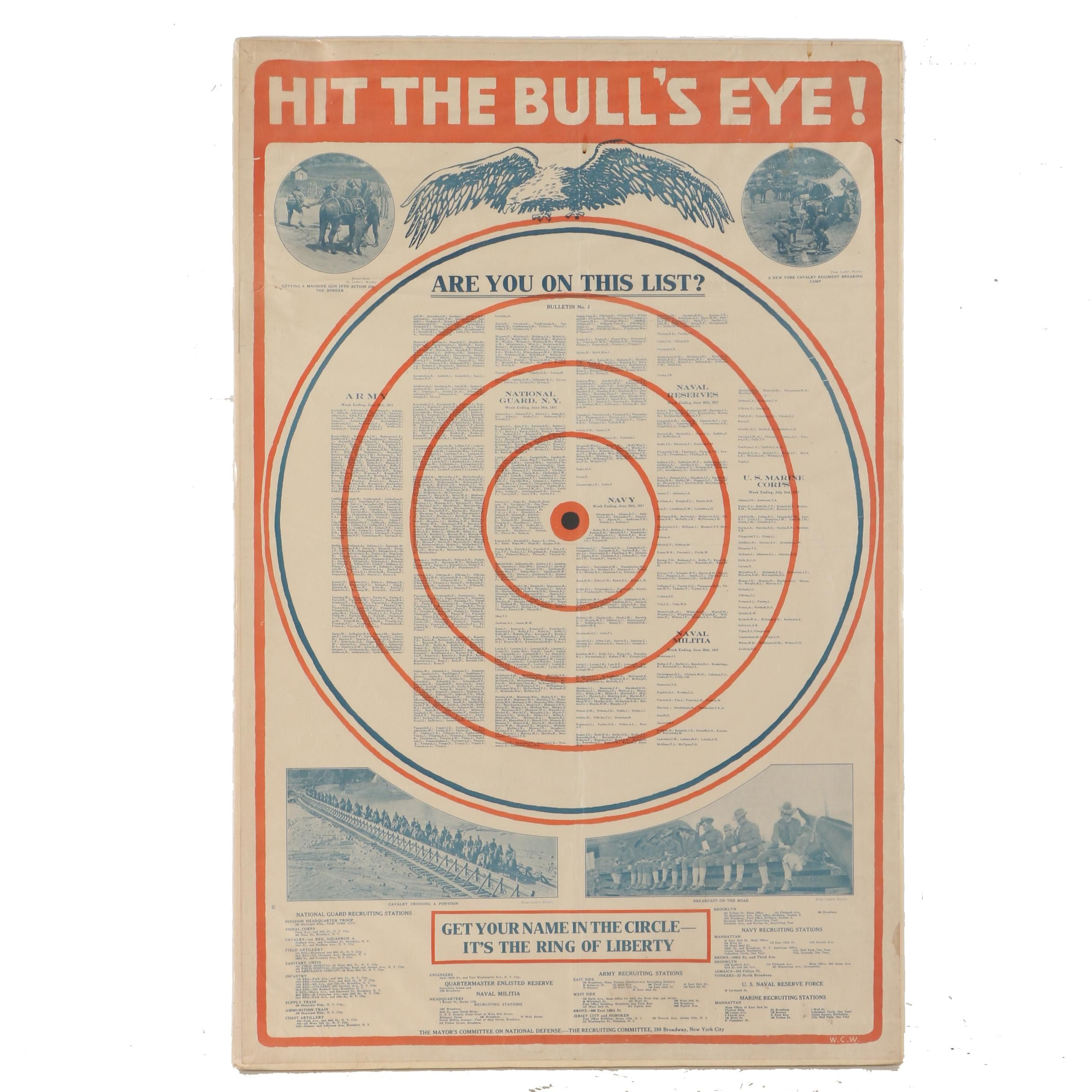 "The Recruiting Committee Vintage Offset Lithograph Poster on Paper ""Hit the Bull's Eye!"""