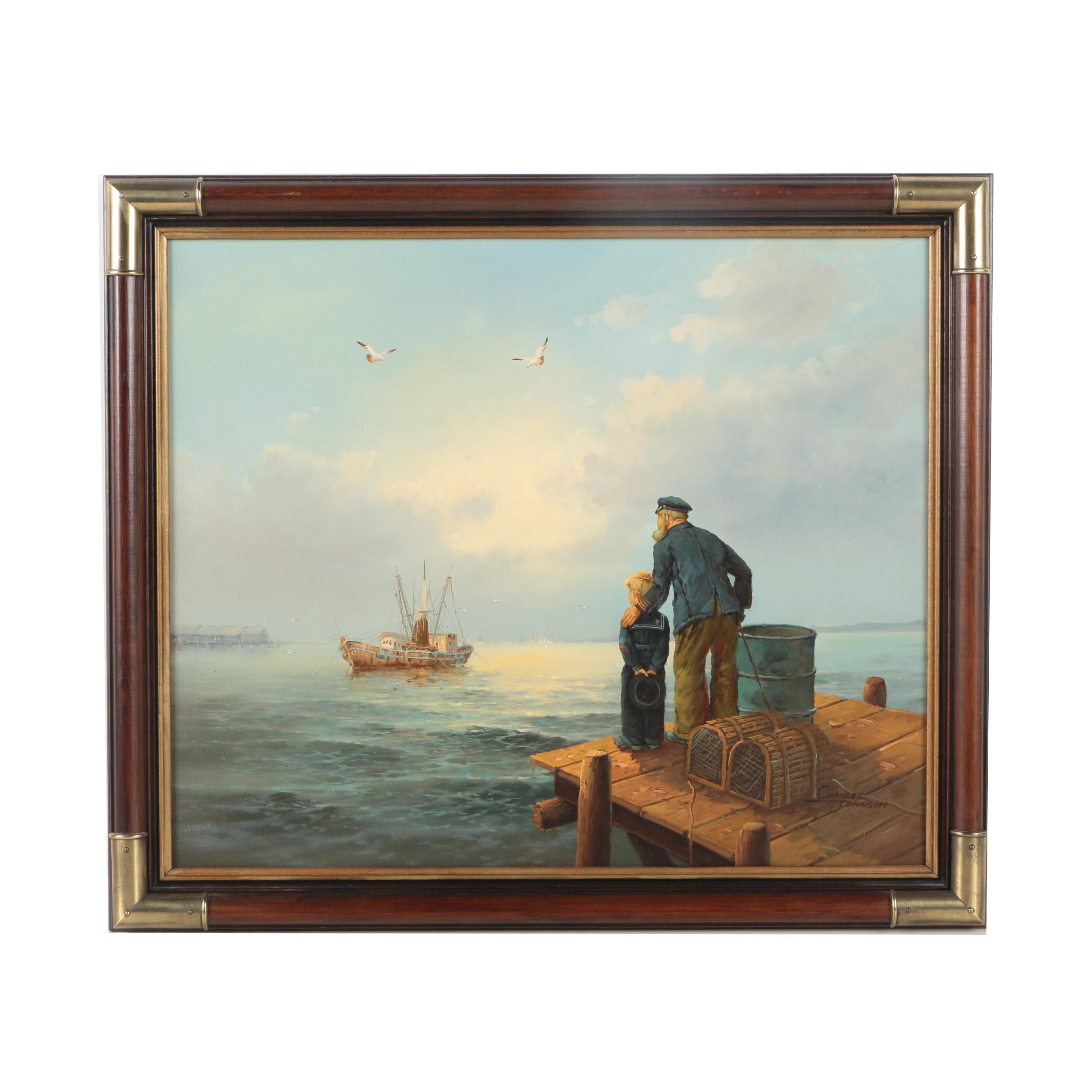 Charles Johnson Oil Painting on Canvas of a Sailor and a Boy on a Pier