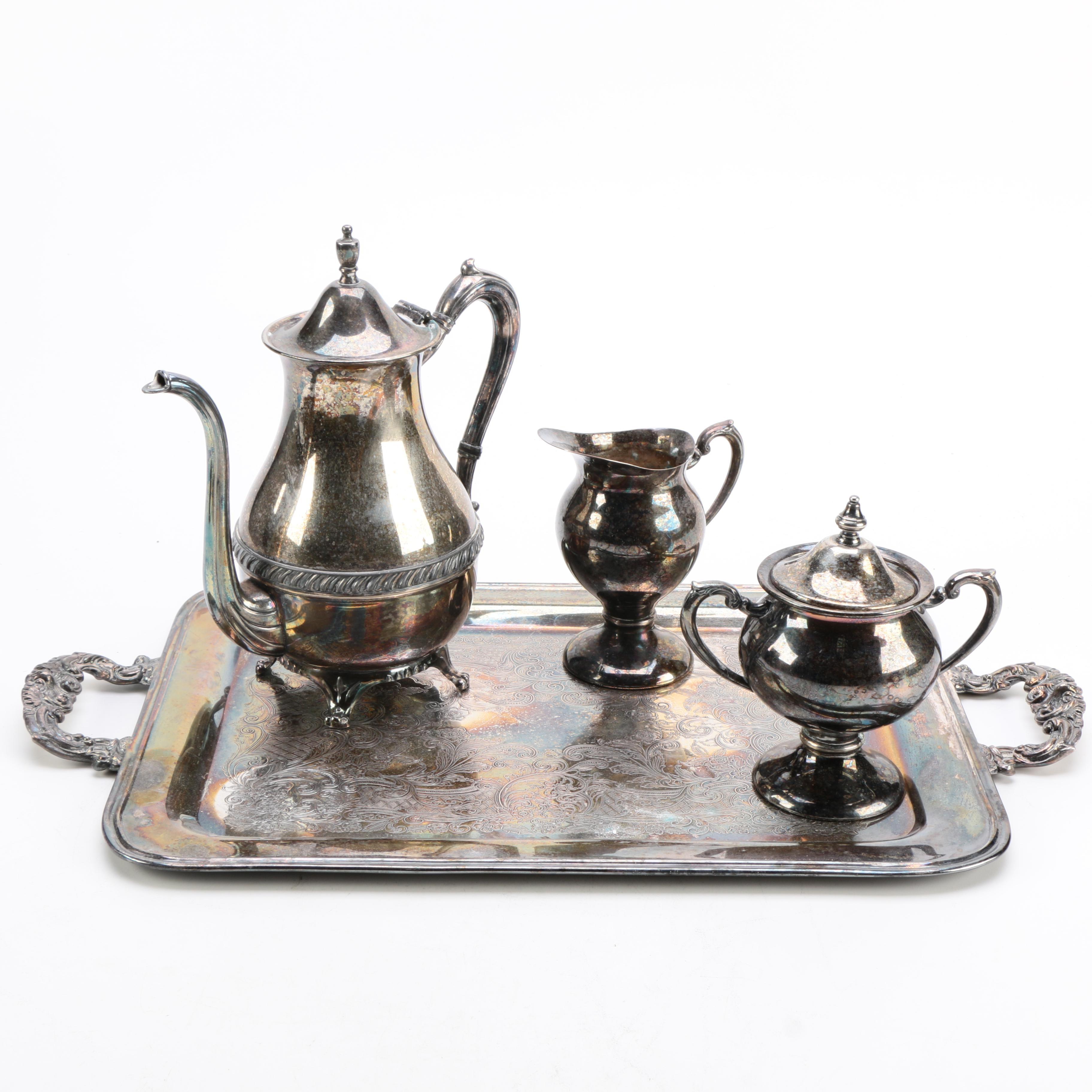 Assembled Silver Plate Tea Service