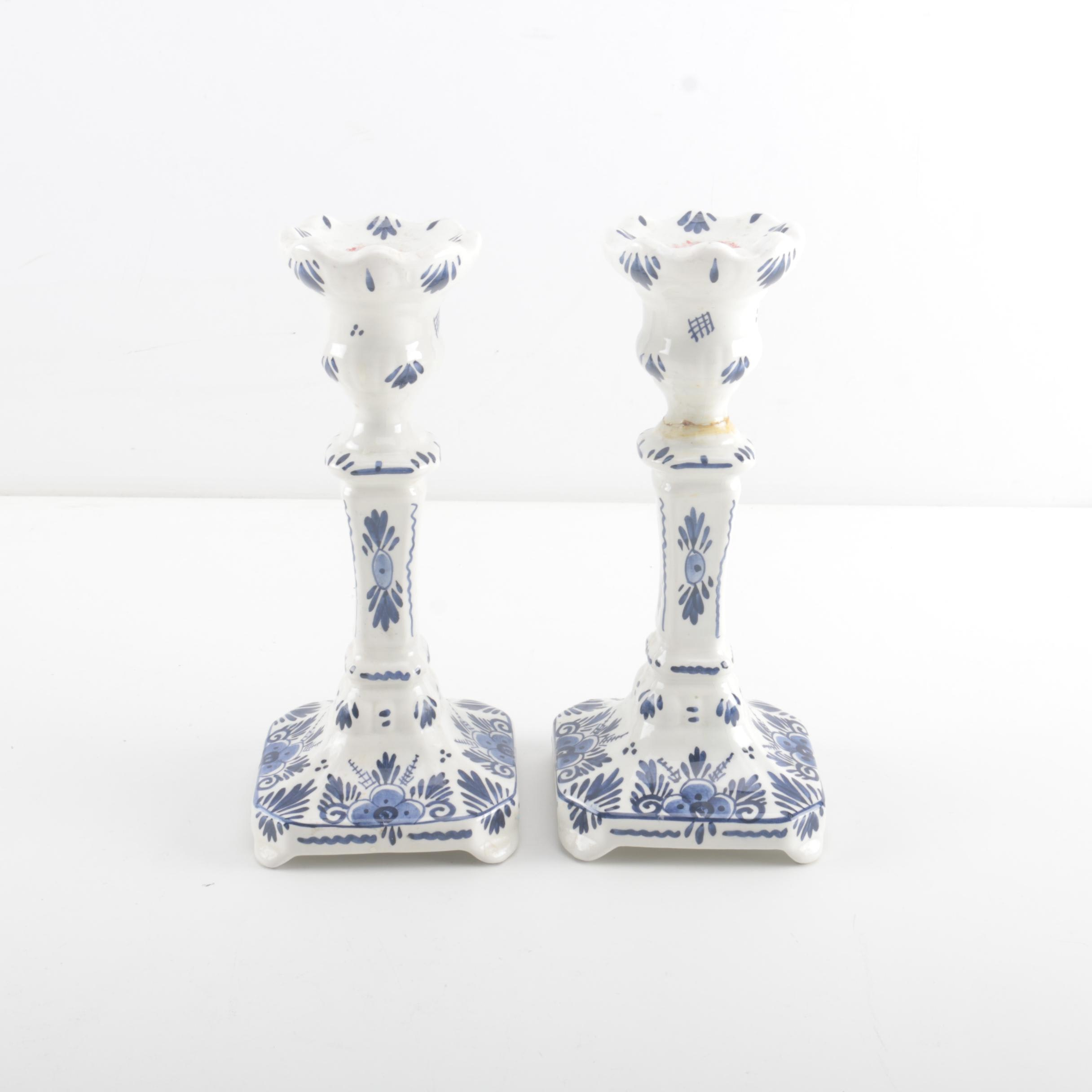 Pair of Holland Delft Candleholders
