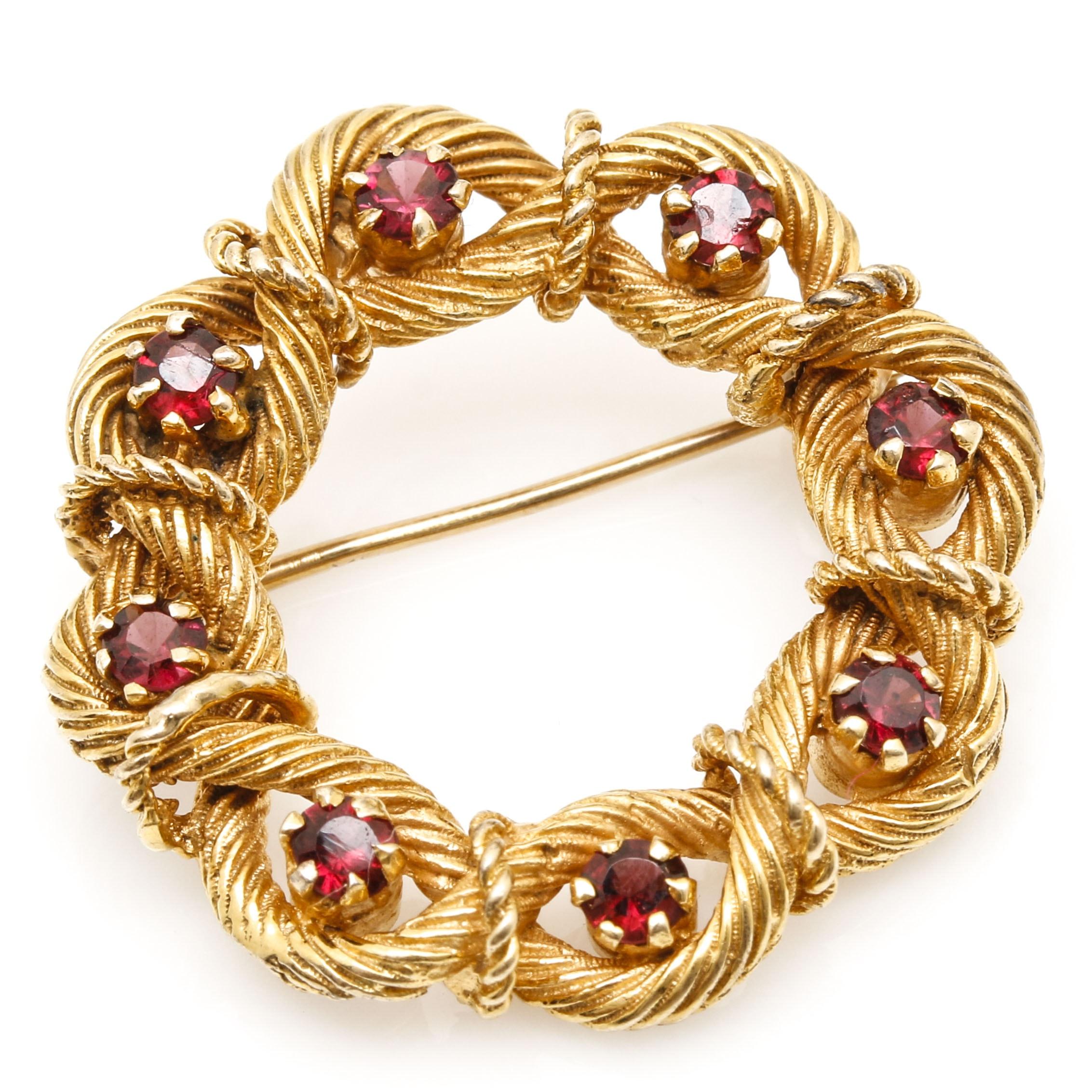 14K Yellow Gold Wreath Brooch with Garnet Gemstones