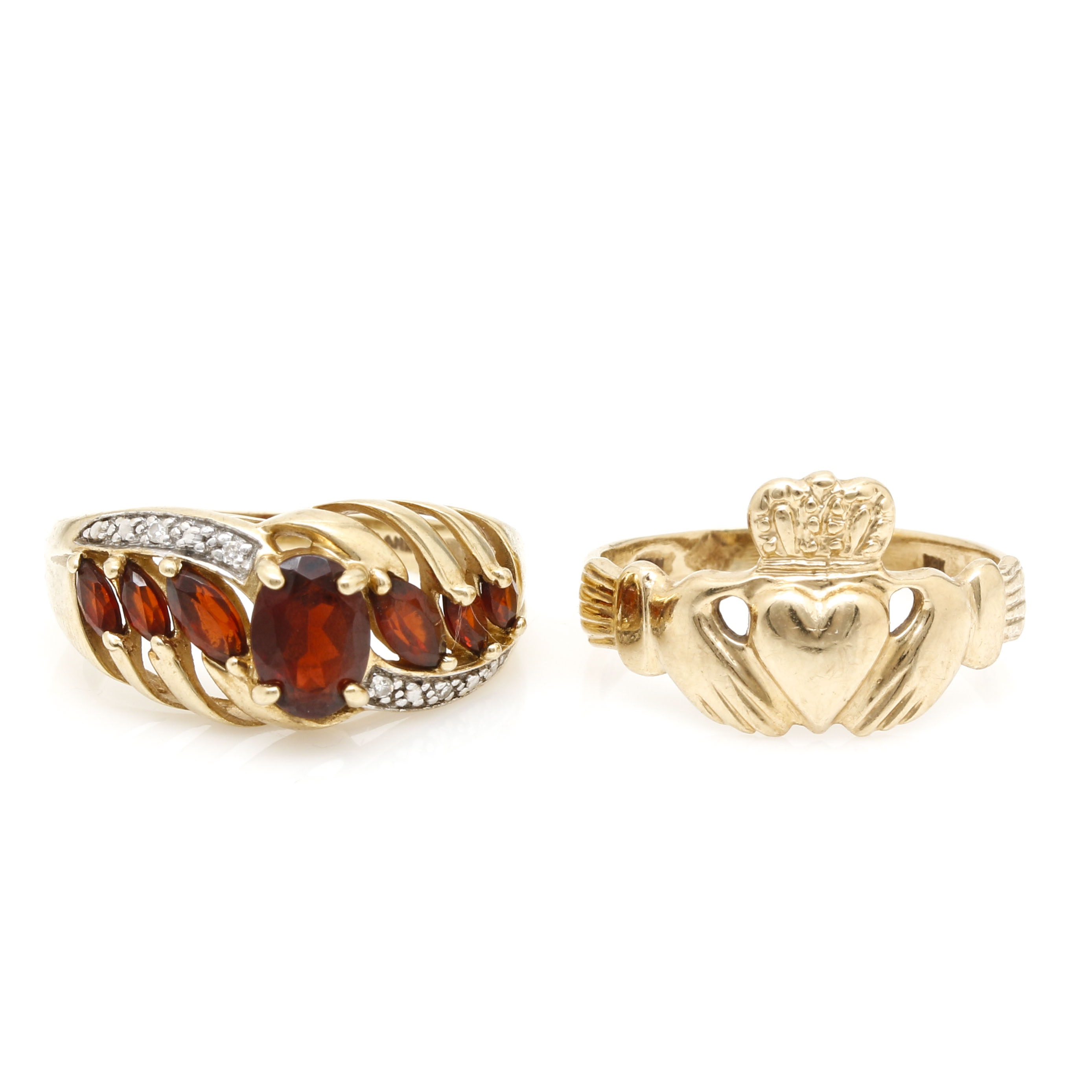 10K Yellow Gold Rings Including Garnet and Diamonds