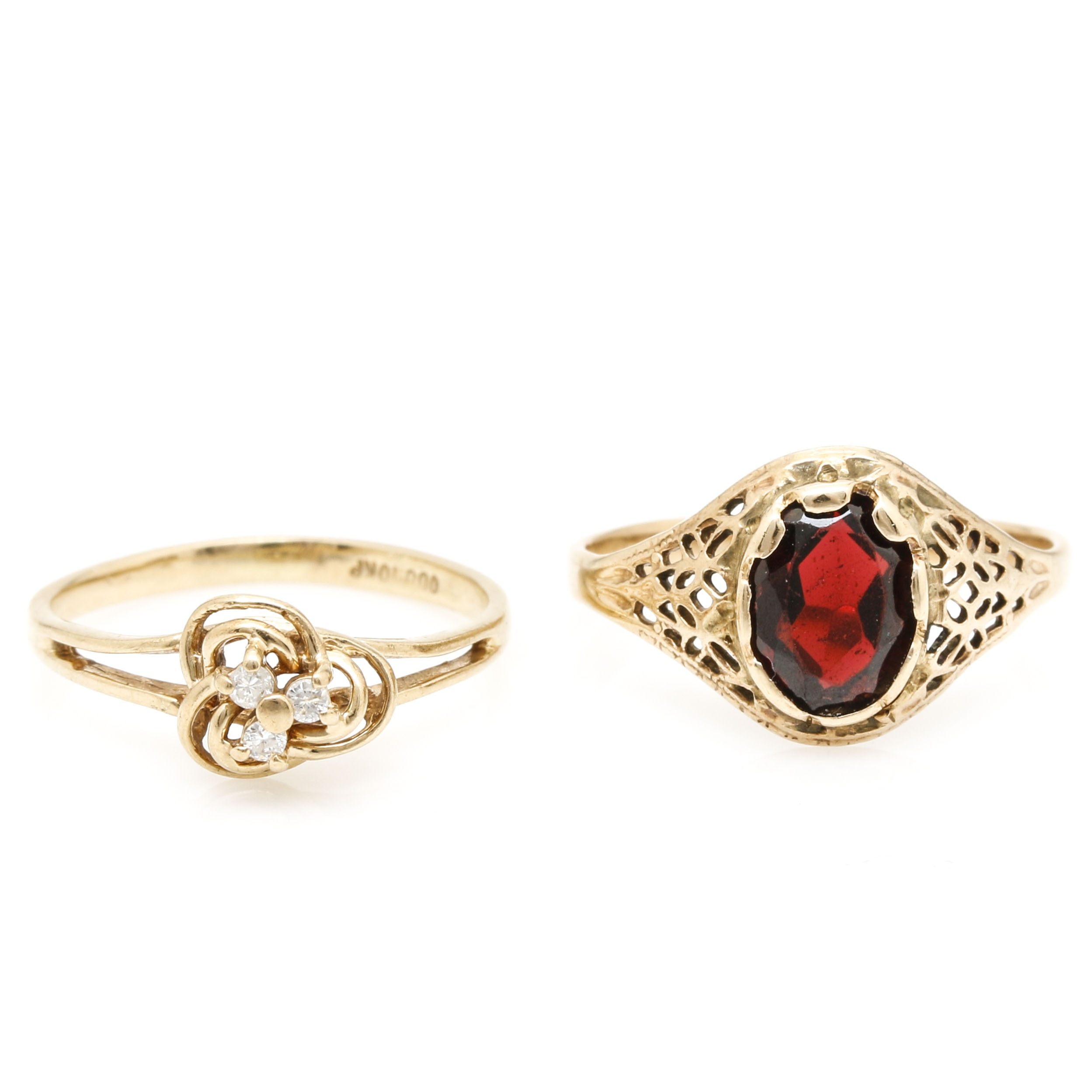 Assorted 10K Yellow Gold Garnet and Diamond Rings