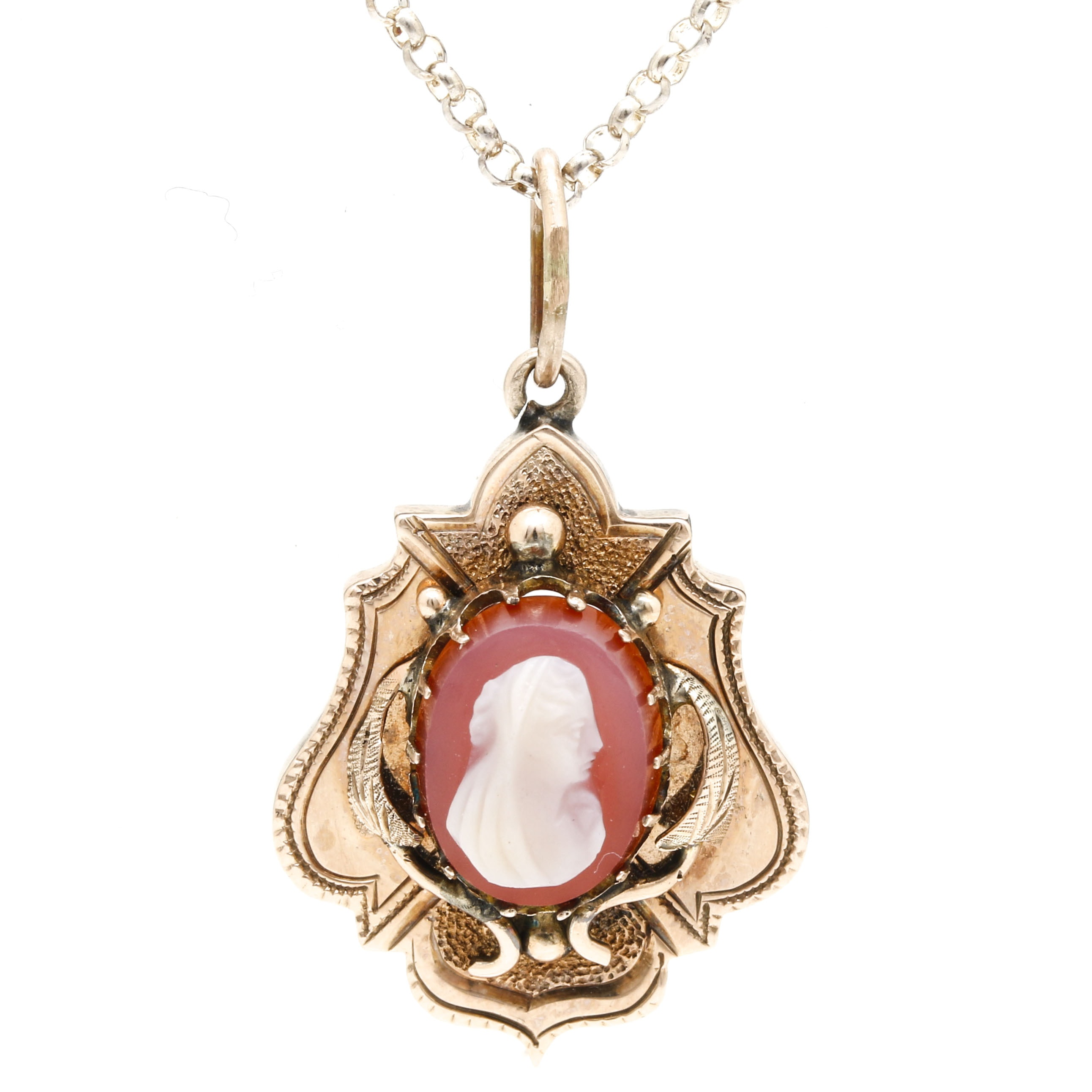 Vintage Cameo With Sterling Silver Rolo Chain