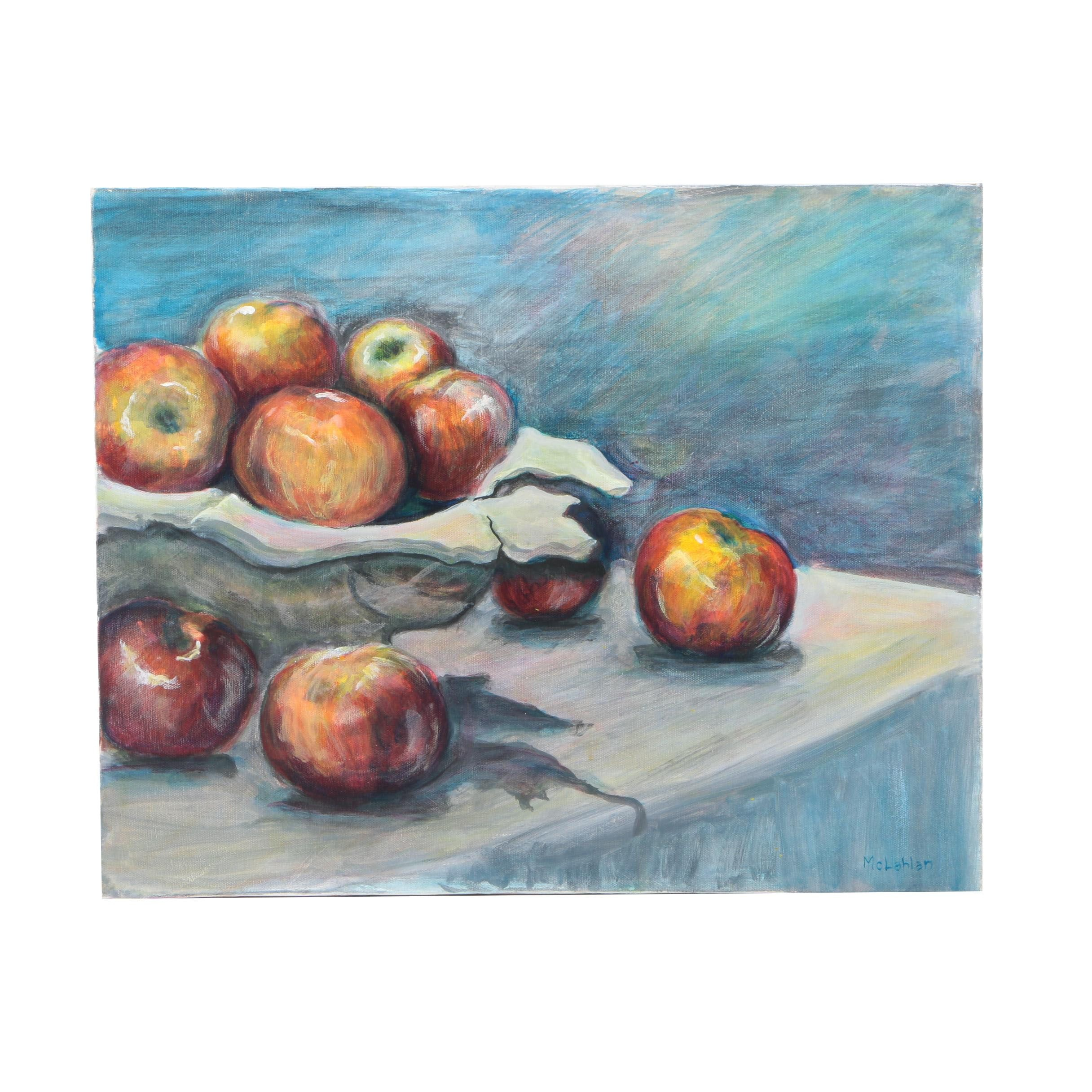 McLahlan Still Life Oil Painting on Canvas of Apples on a Table