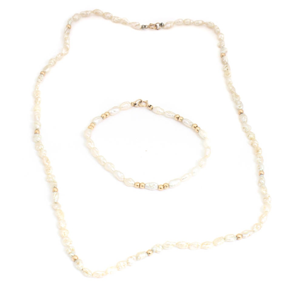 14K Yellow Gold Freshwater Pearl Necklace and Bracelet