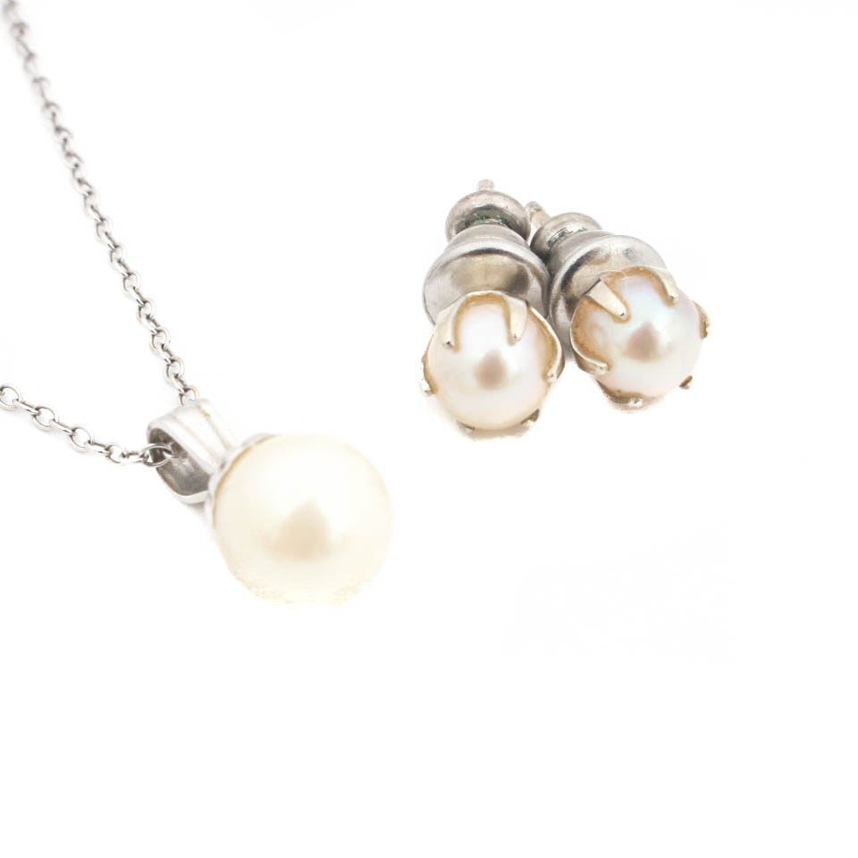 14K White Gold Cultured Pearl Necklace and Earrings Set