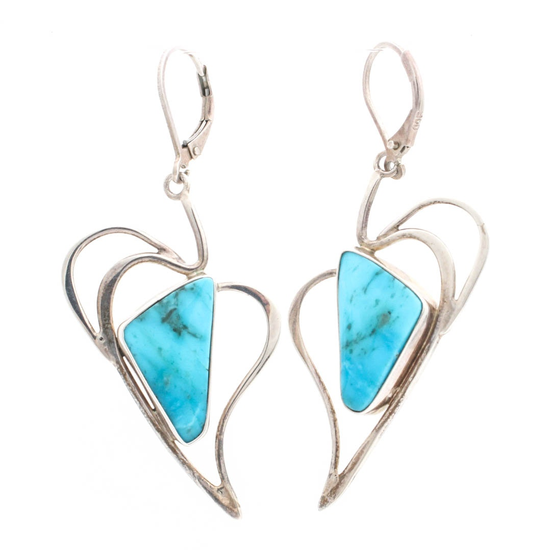 Sterling Silver and Turquoise Earrings by Silver Lining Studio