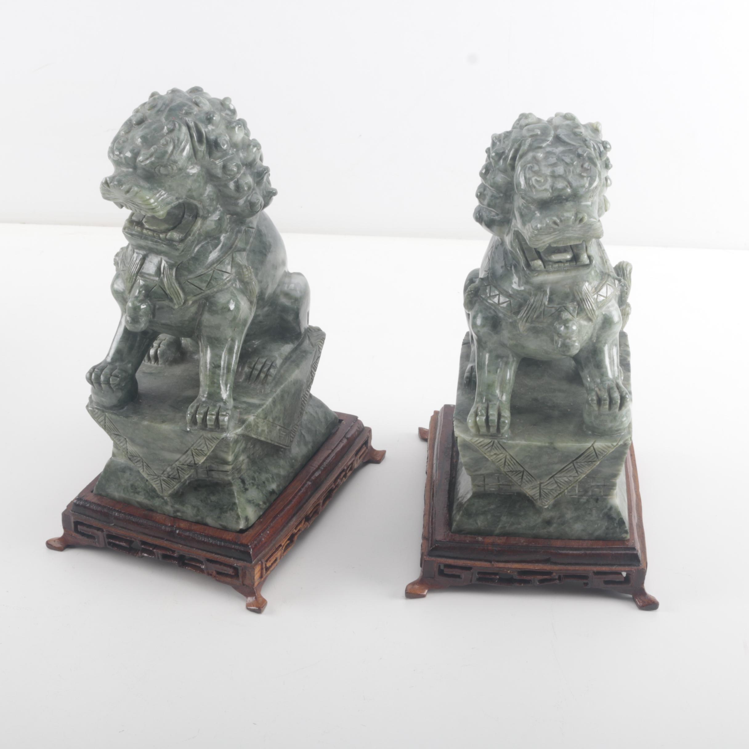 Pair of Nephrite Asian Figures on Mahogany Bases