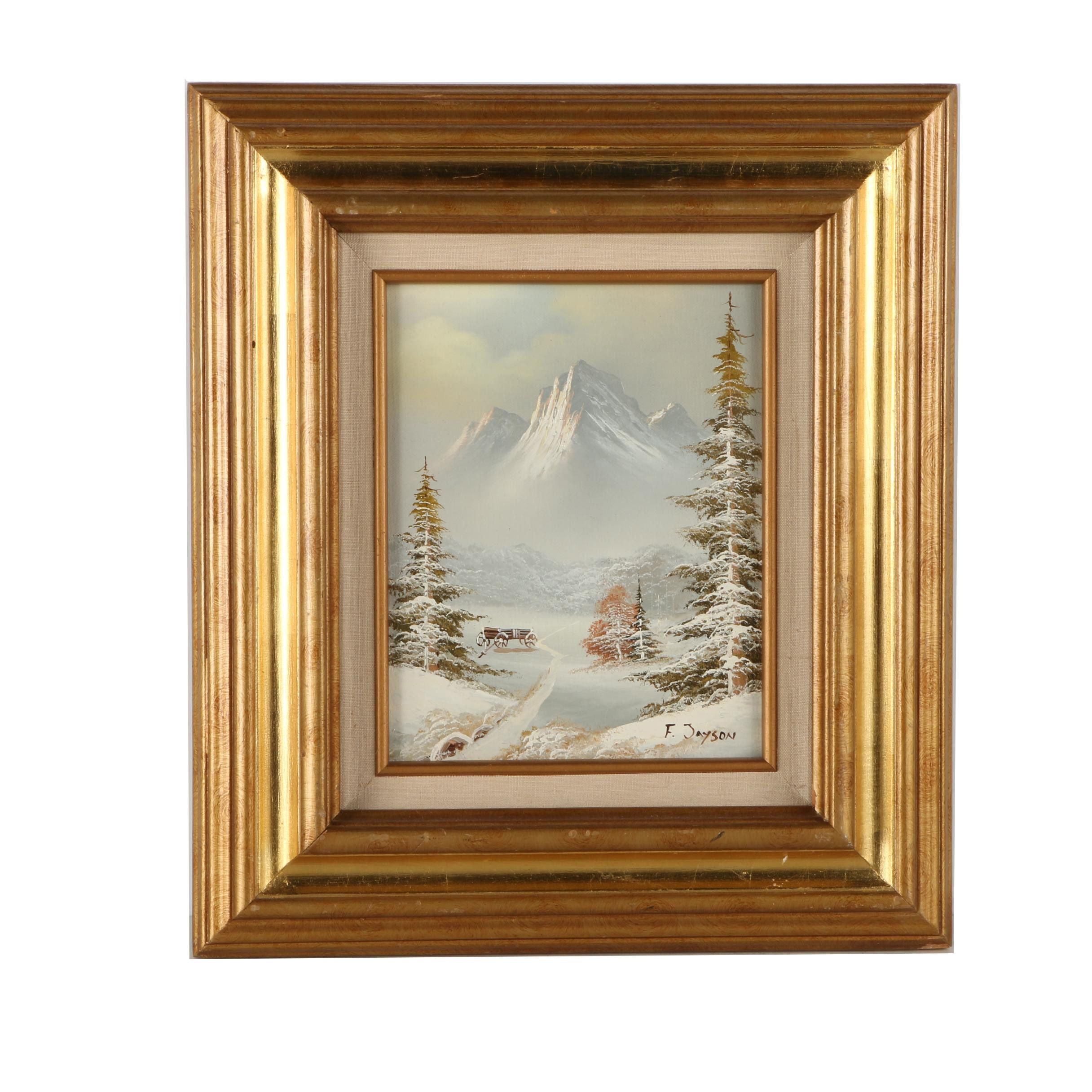 F. Jayson Oil Painting on Canvas of Winter Scene