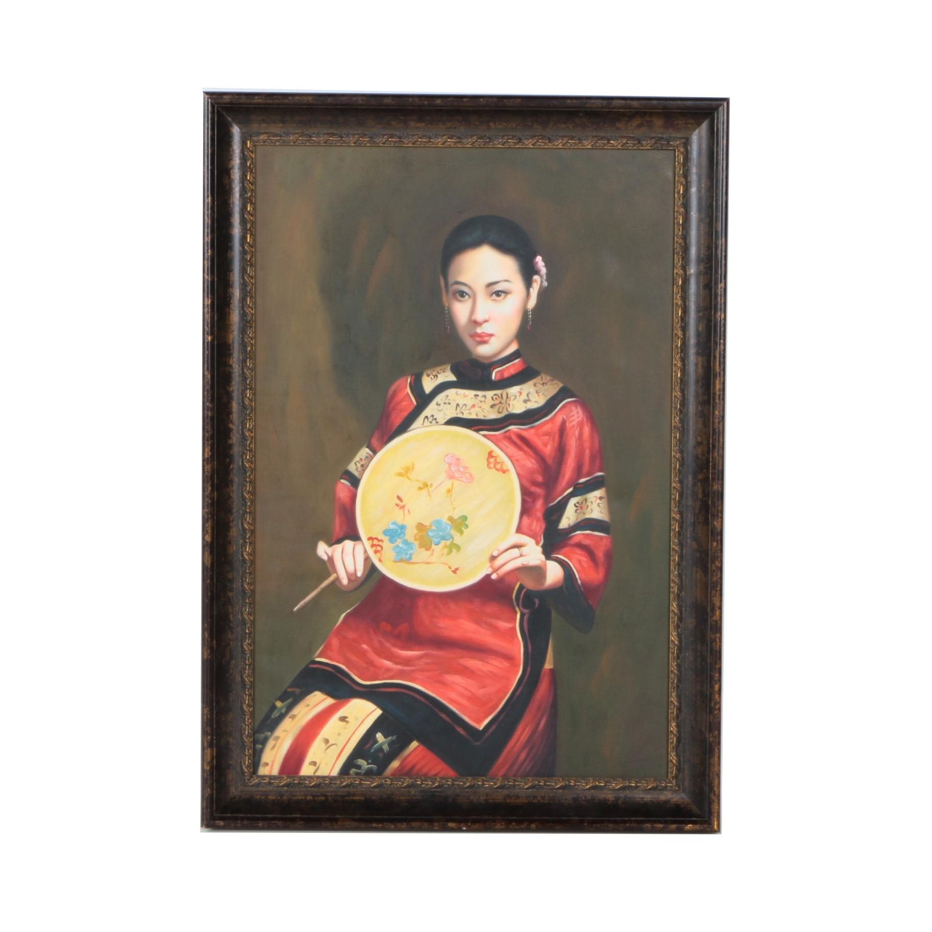 Print on Canvas of Woman with Fan