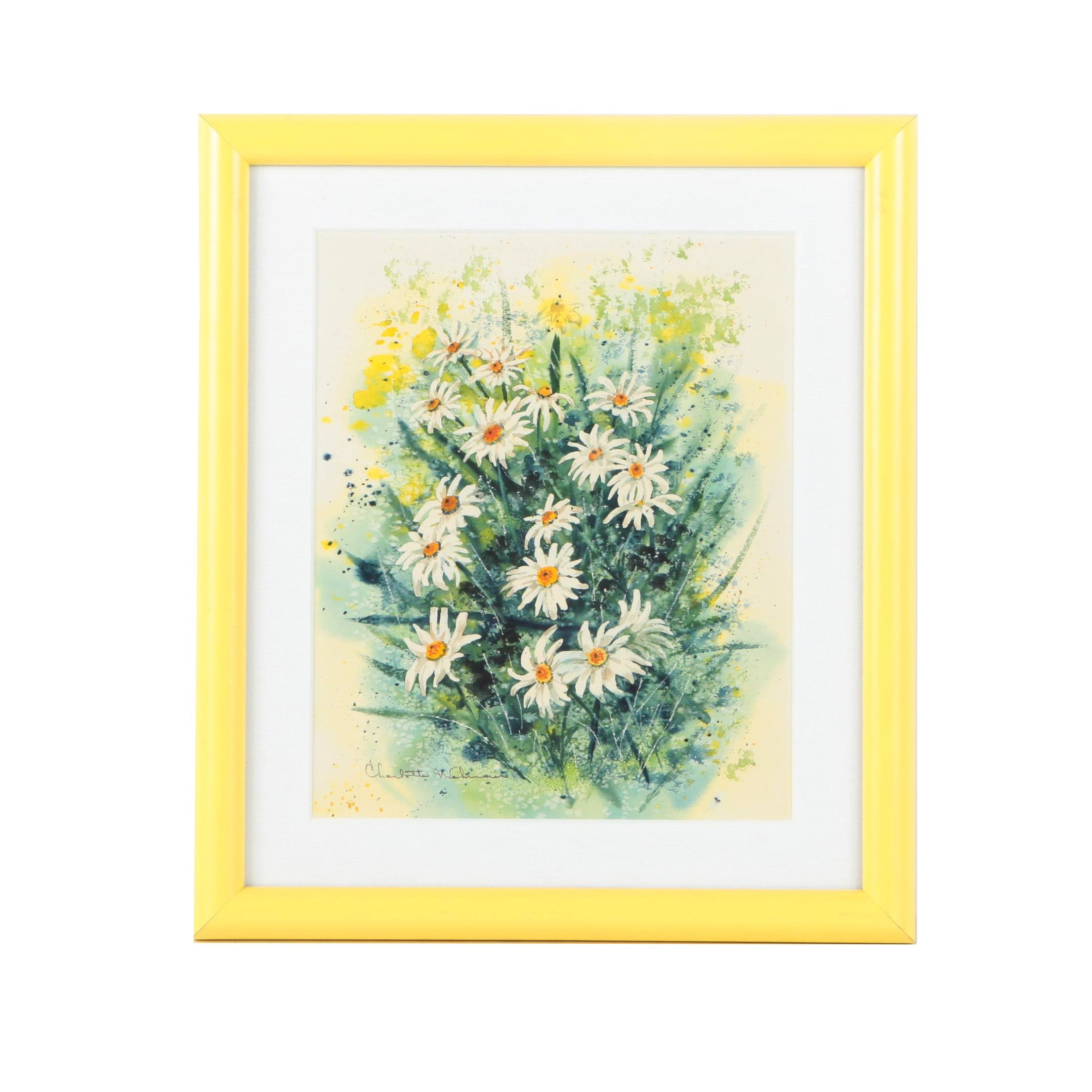 Watercolor Painting on Paper of Daisies