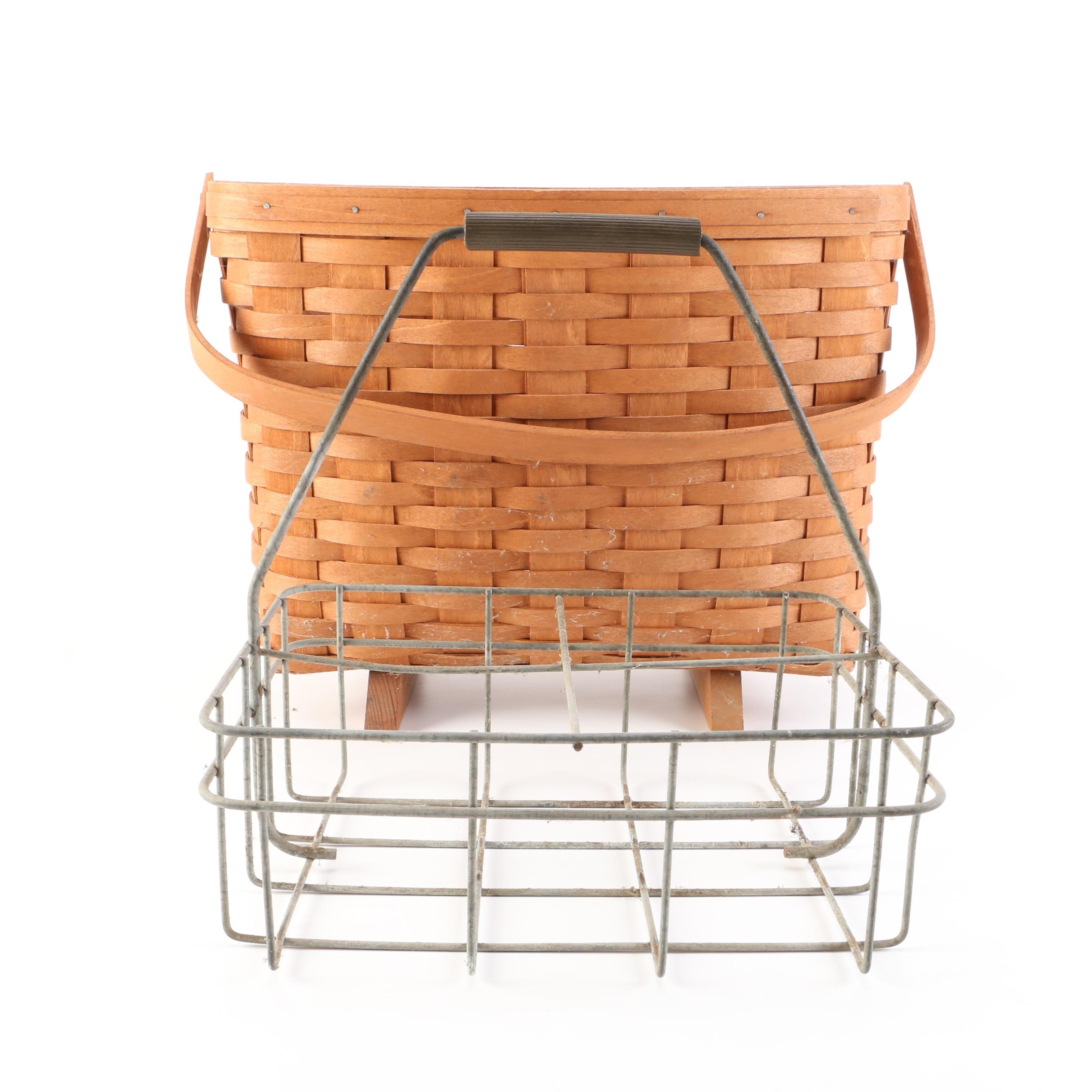 1989 Longaberger Basket and Wire Milk Caddy
