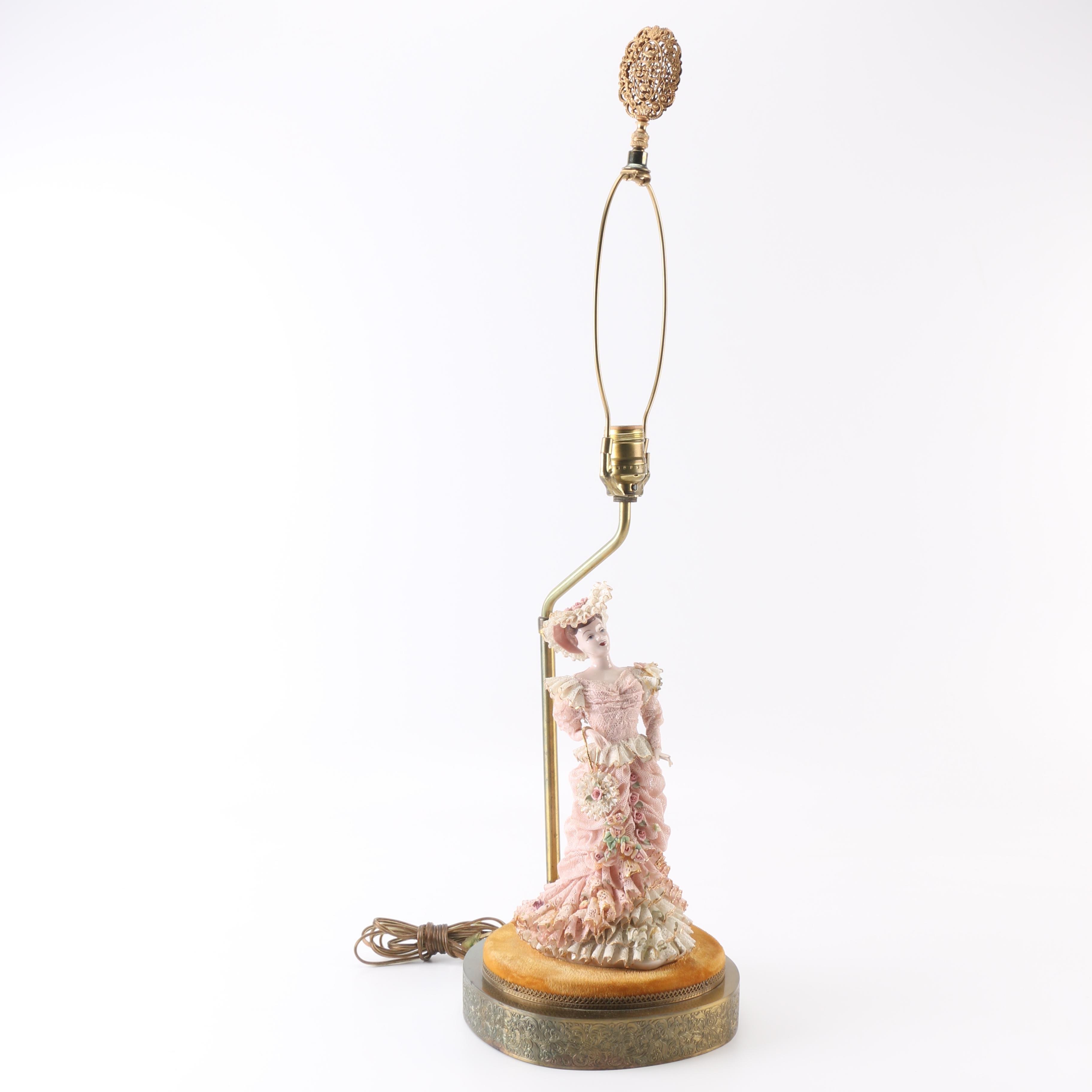 Art Nouveau Ceramic Figural Lamp