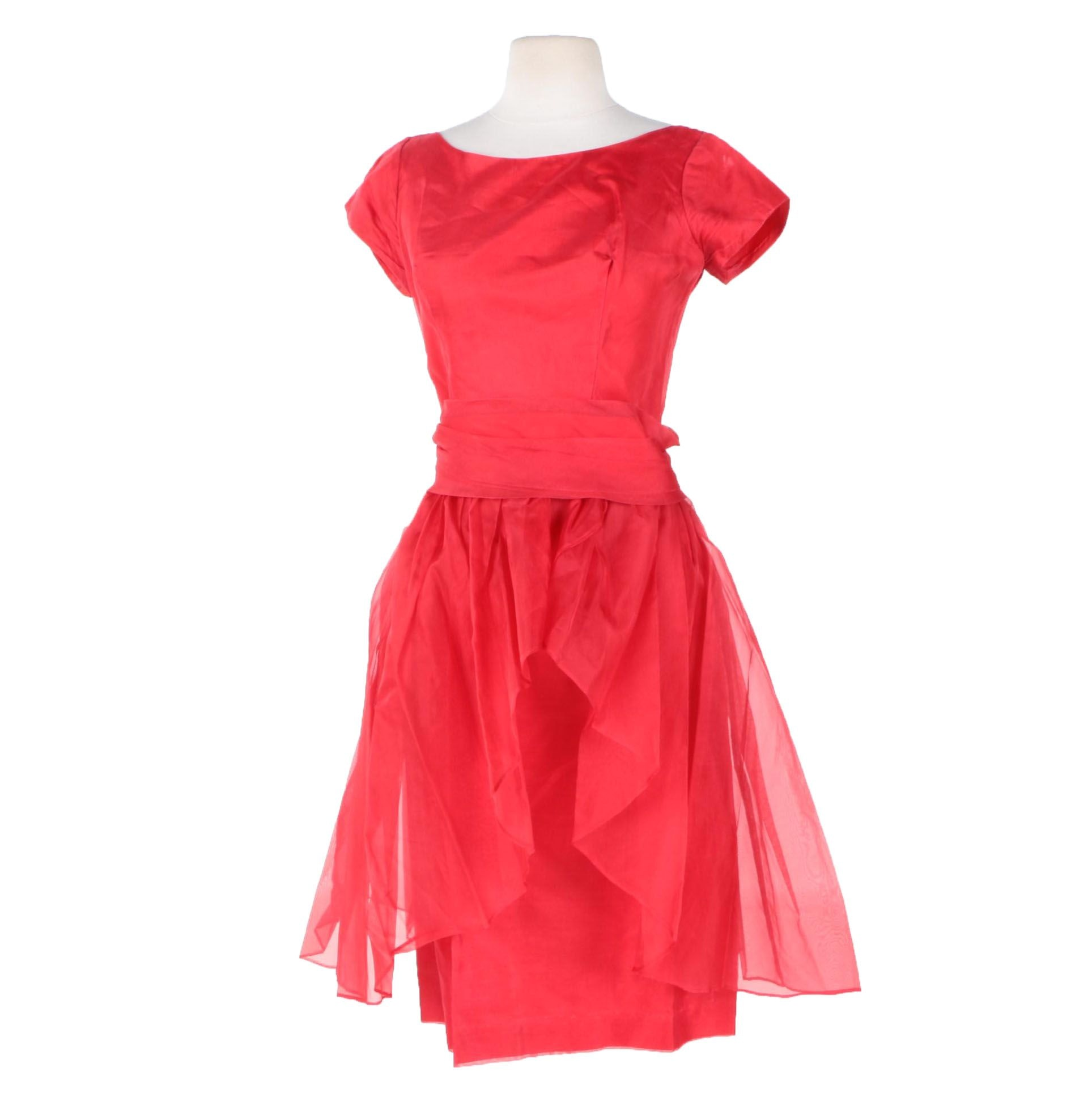 Vintage Red Sheath Dress with Removable Organza Skirt and Belt