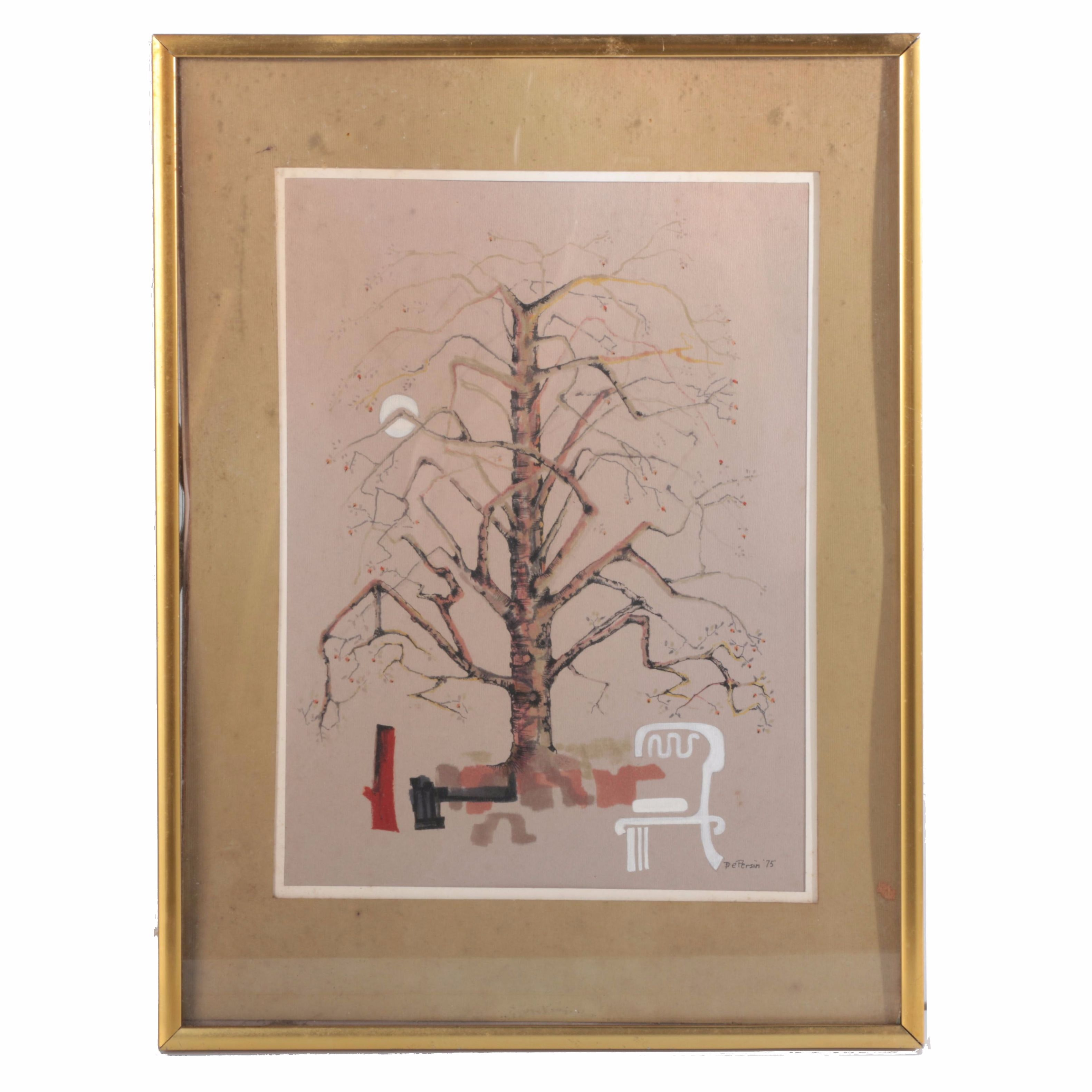 DePersiis Vintage Watercolor and Ink Painting on Board of a Tree