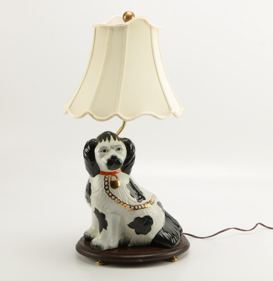 Custom staffordshire style spaniel table lamp ebth custom staffordshire style spaniel table lamp geotapseo Gallery