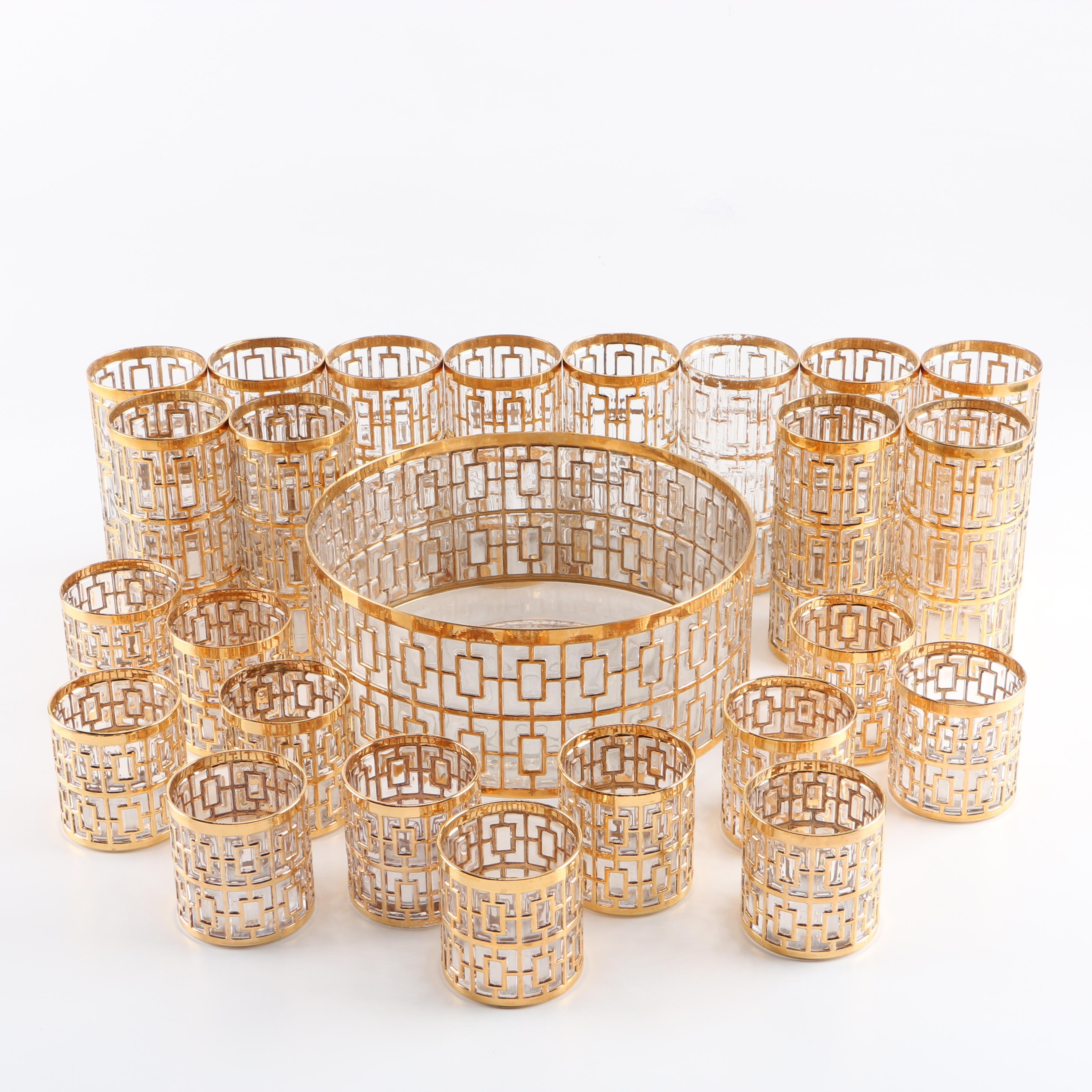Art Deco Inspired Glass Punch Set