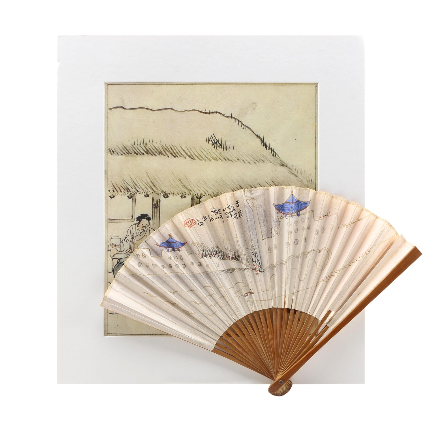 """After Kim Hong-do Reproduction Print on Paper """"Threshing Rice"""" and East Asian Style Hand Fan"""