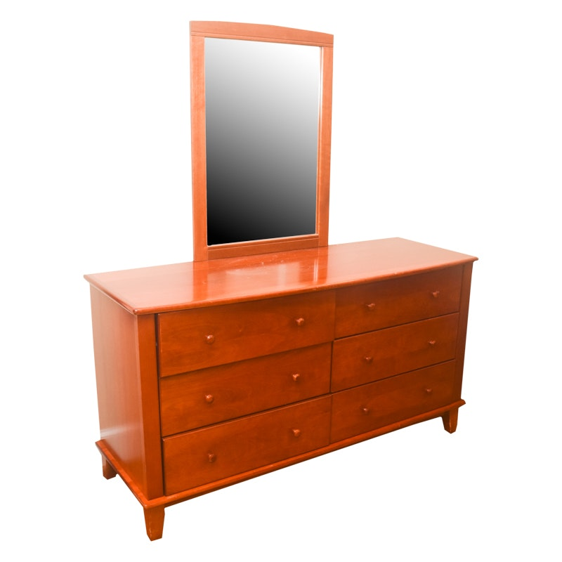 Contemporary Style Wooden Dresser and Mirror