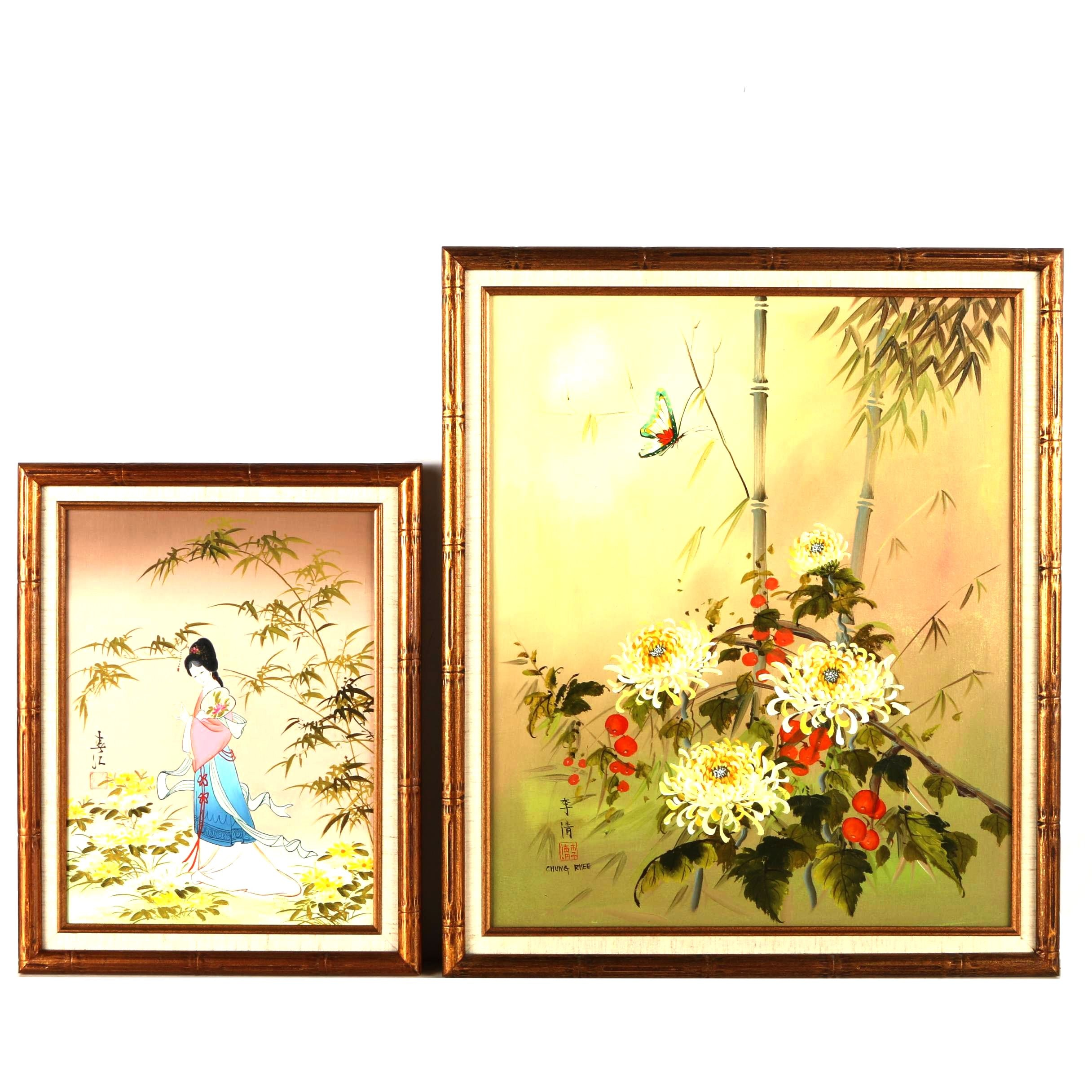 Chinese Oil Paintings on Canvas Portrait and Floral Still Life