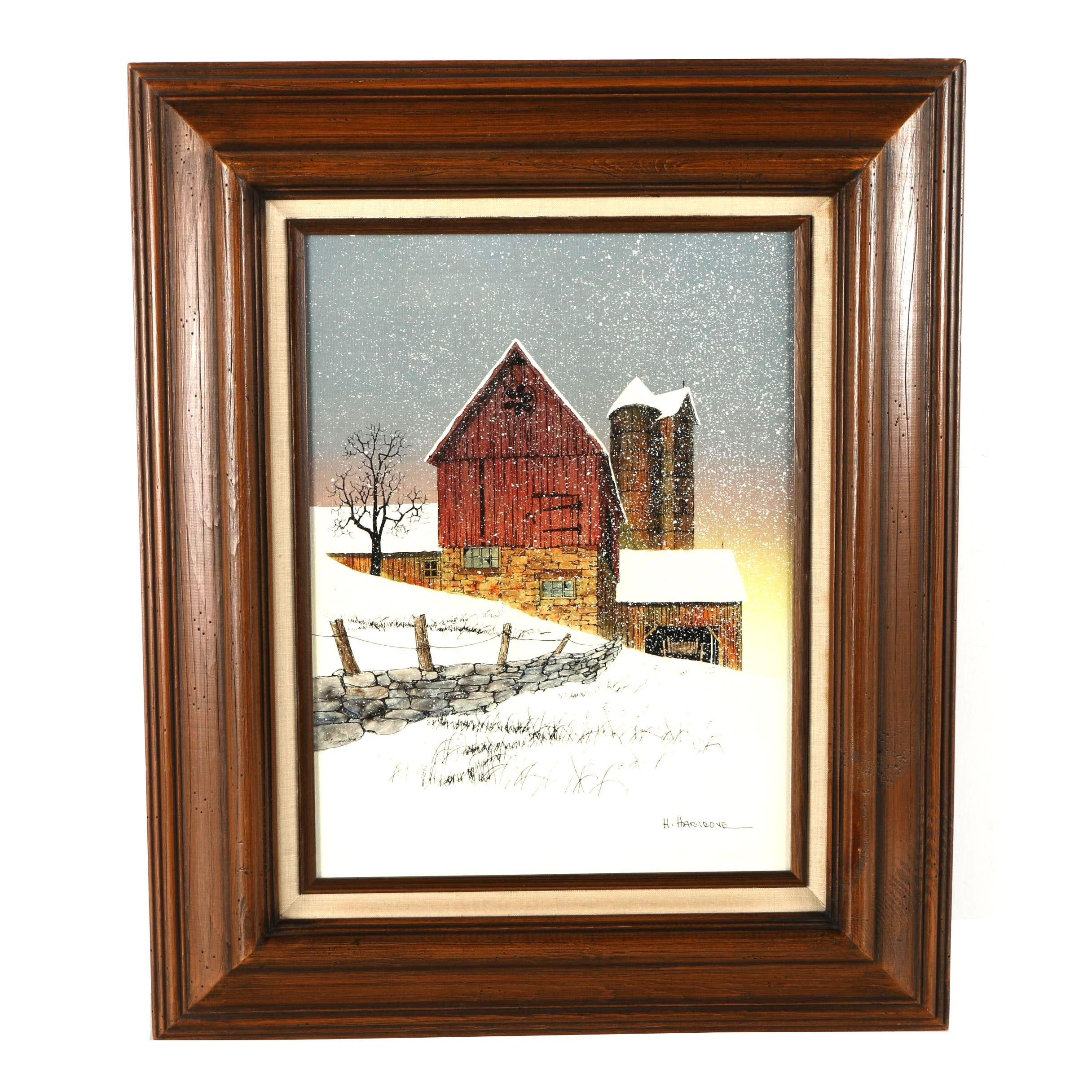 H. Hargrove Serigraph on Canvas of Rural Winterscape
