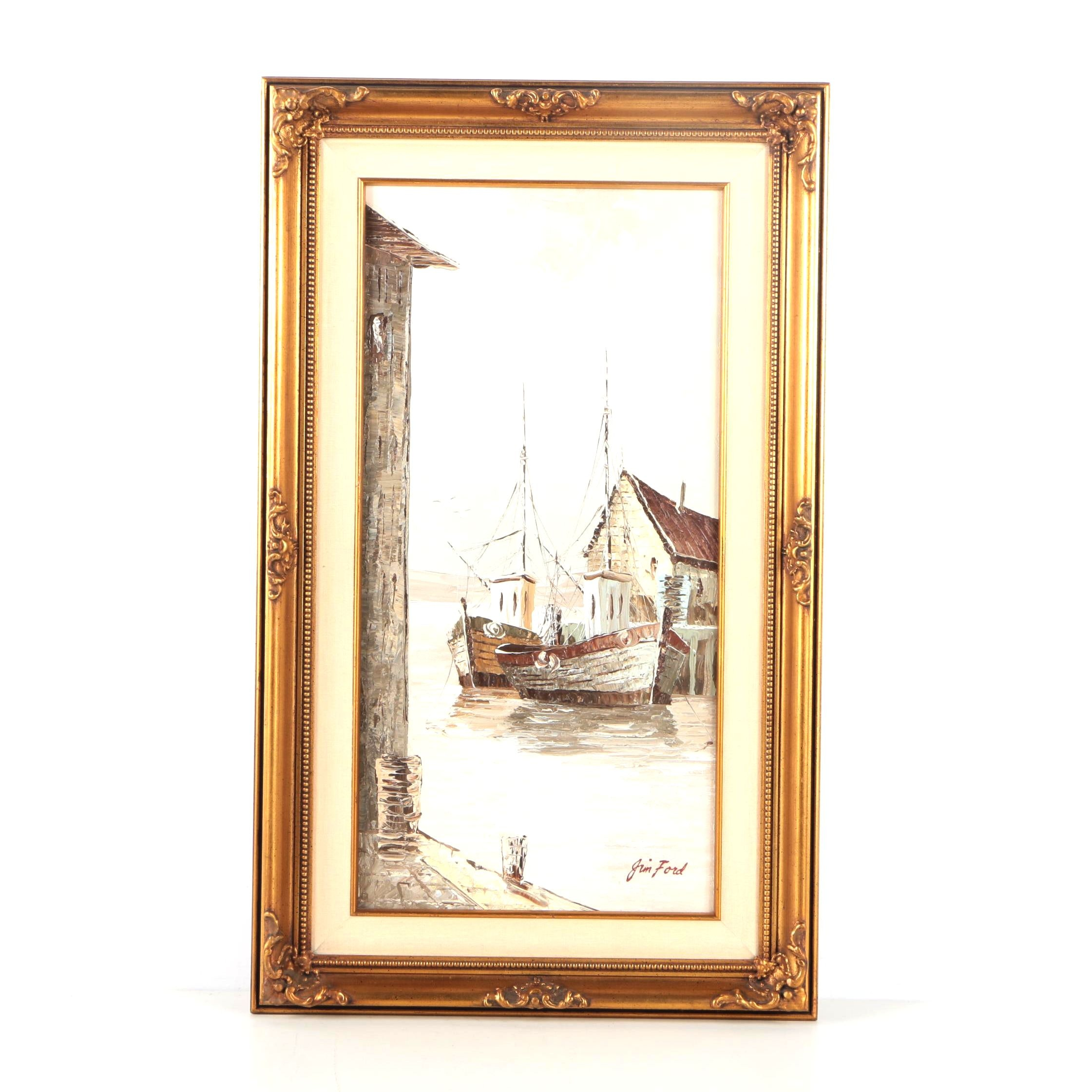 Jim Ford Oil Painting on Canvas of a Harbor Scene
