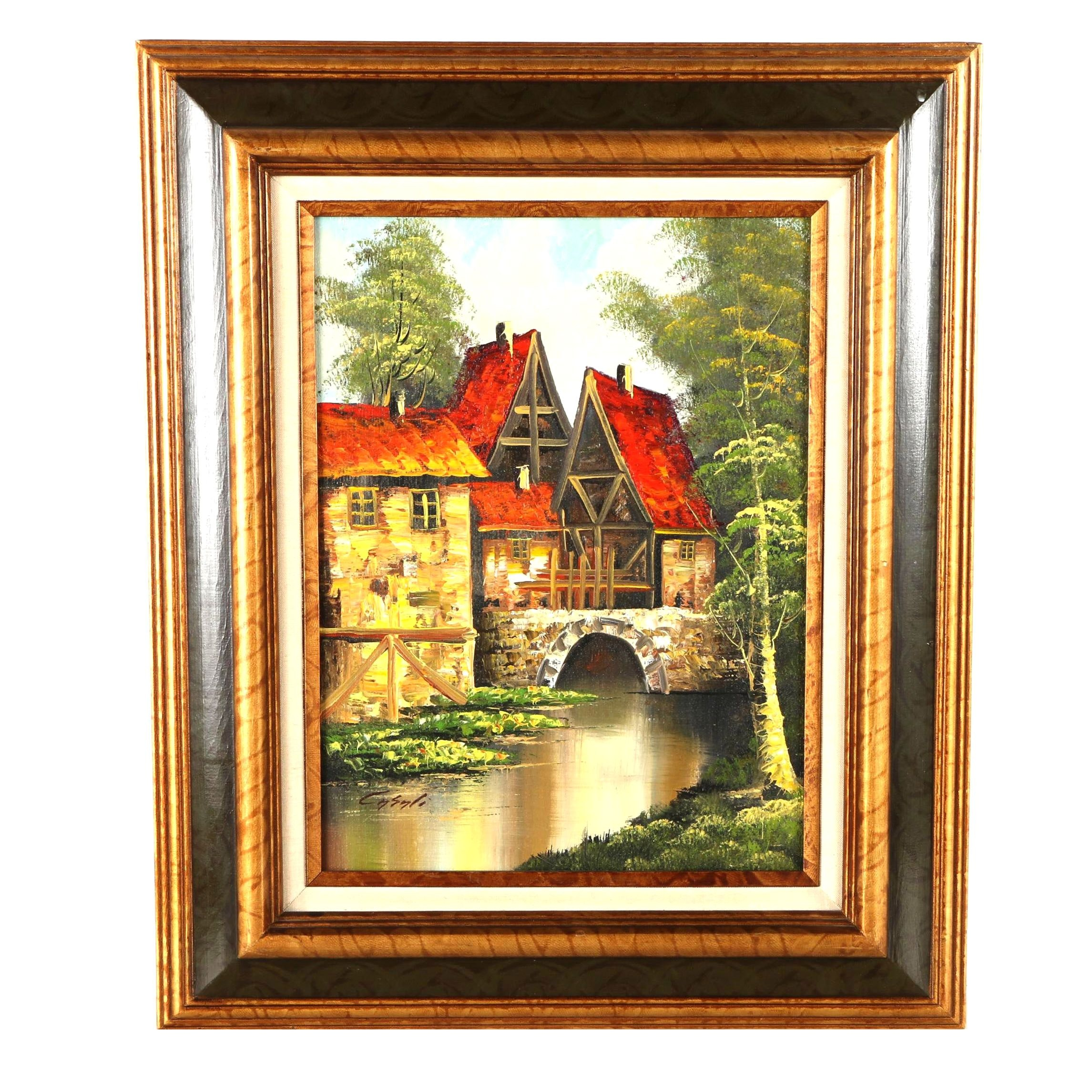 Casali Oil Painting on Canvas of an Old Water Mill House