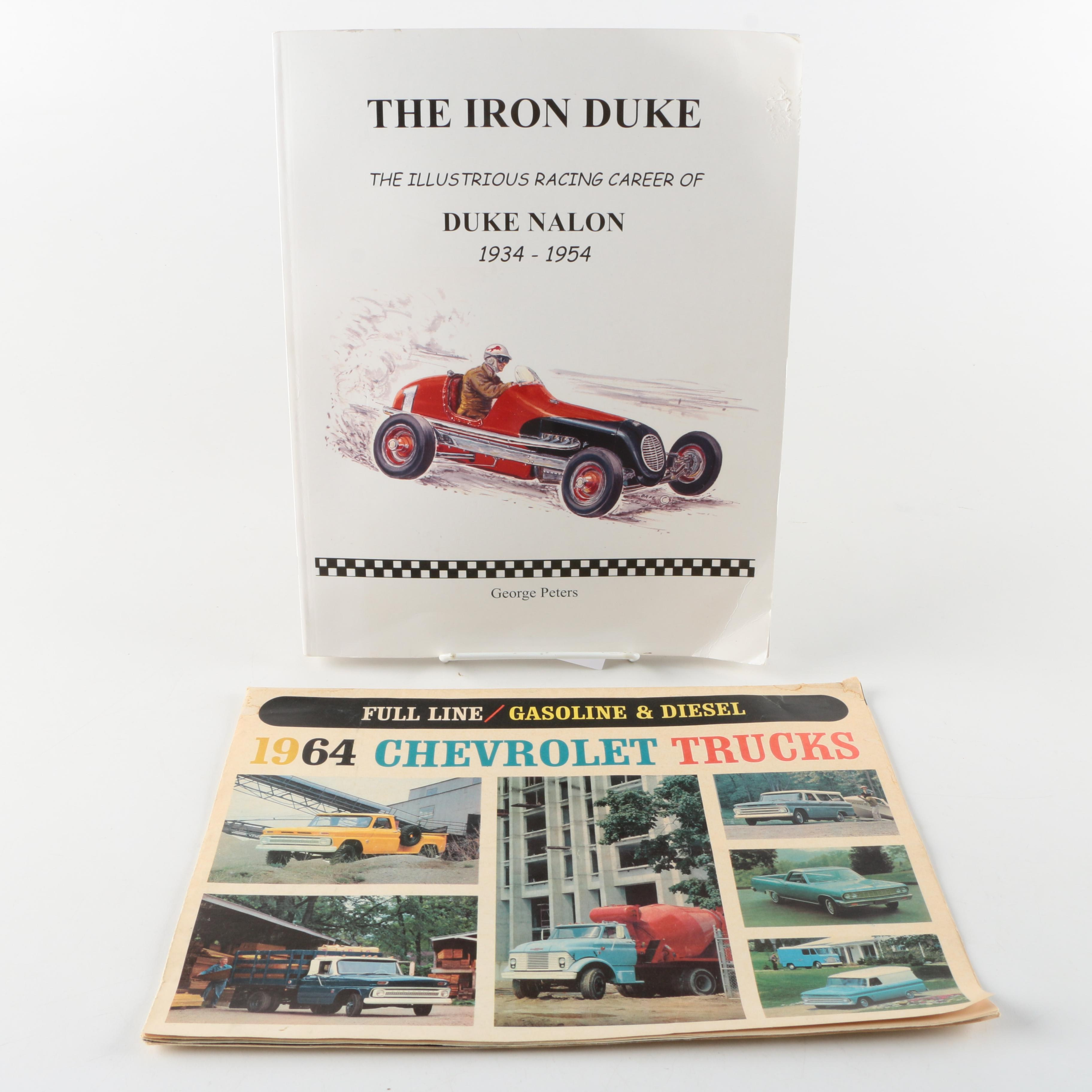 """Signed Copy of """"The Iron Duke"""" Book with Vintage Chevrolet Truck Calendar"""