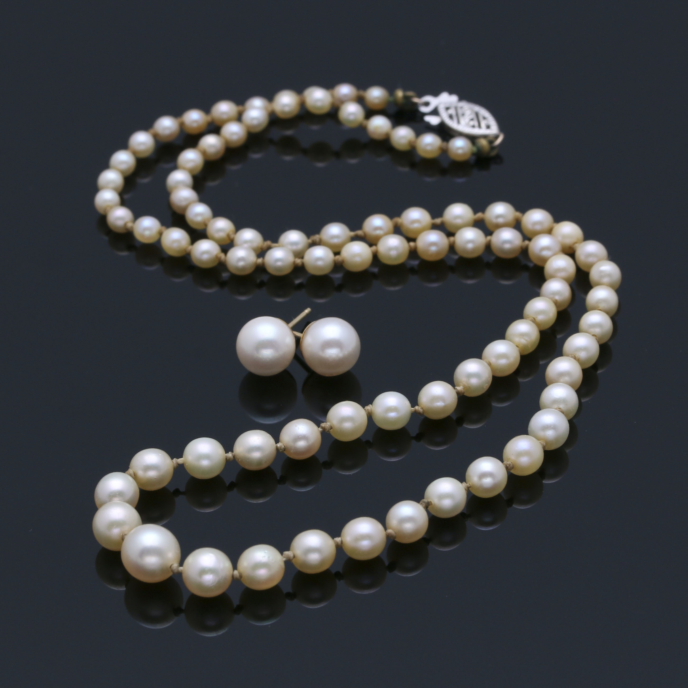 Cultured Pearl Necklace and Earrings with Yellow Gold Findings