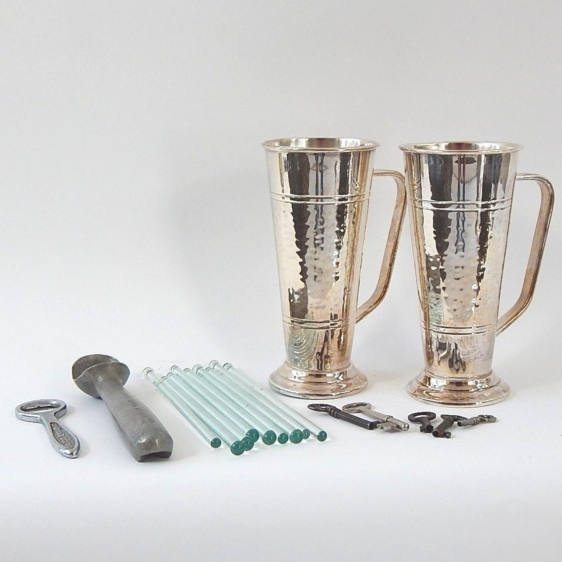 Assortment of Kitchenalia Featuring Em-Ess Silverware