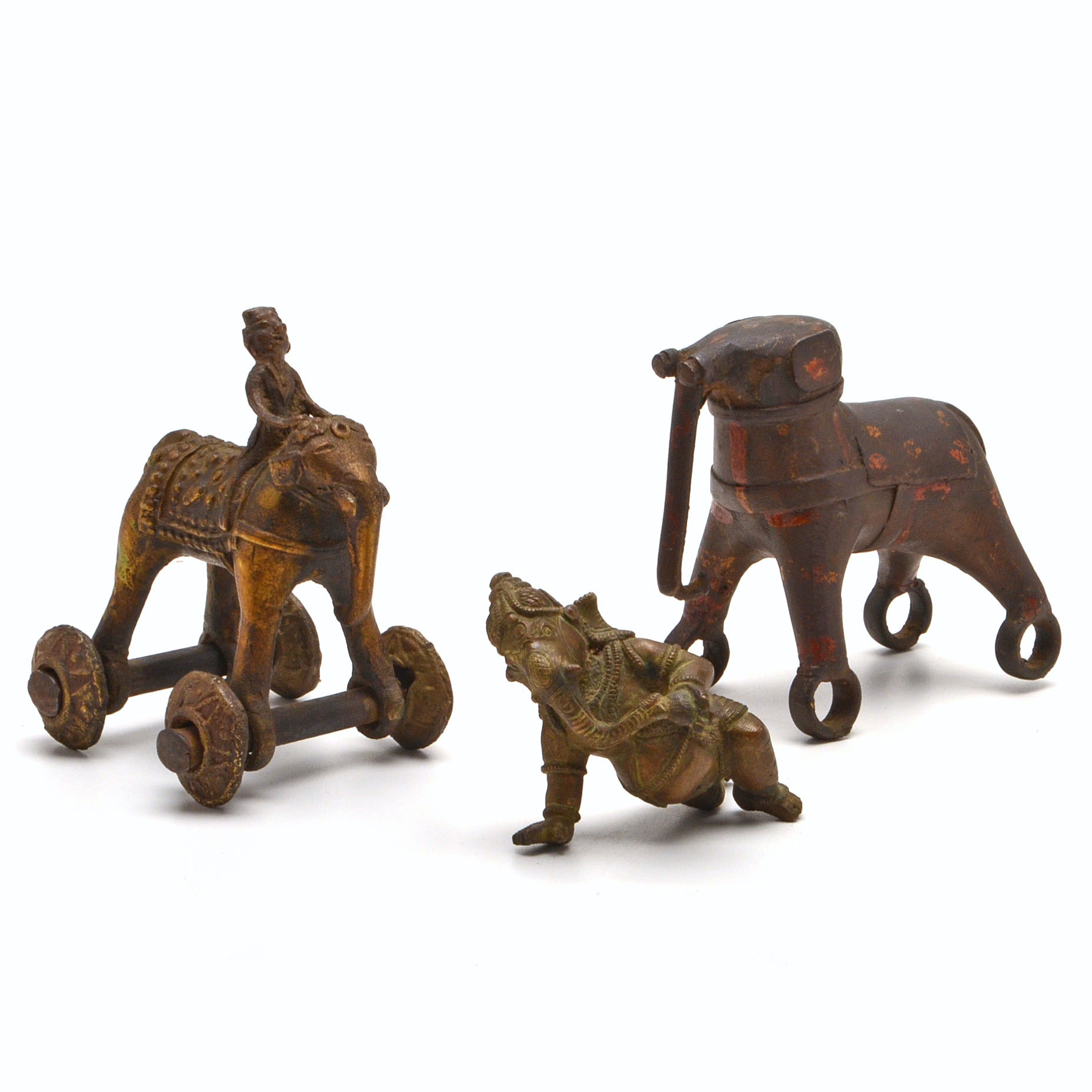 Collection of Three Brass Elephants