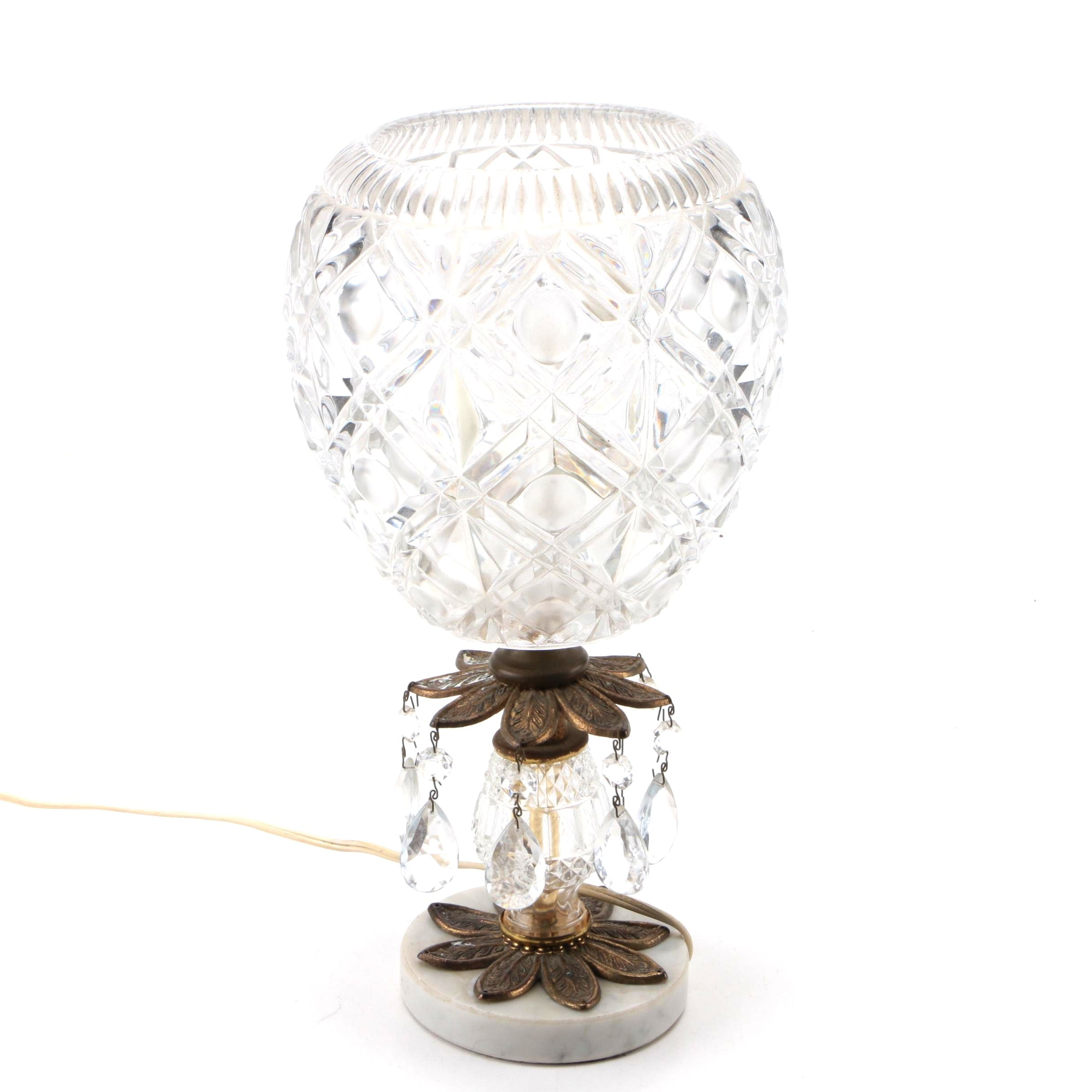 Table Lamp with Pressed Glass Globe