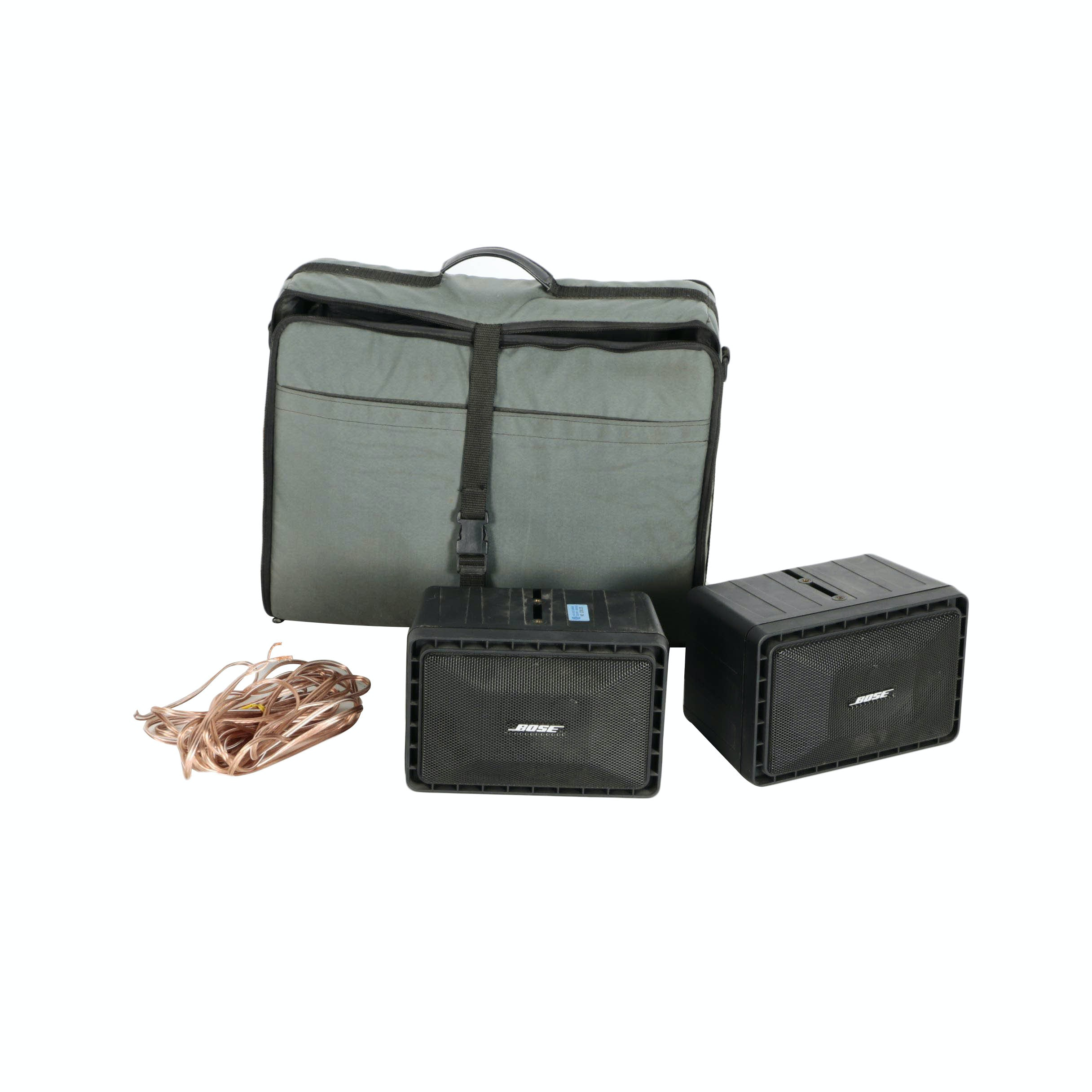 Pair of Bose Speakers and Carrying Bag