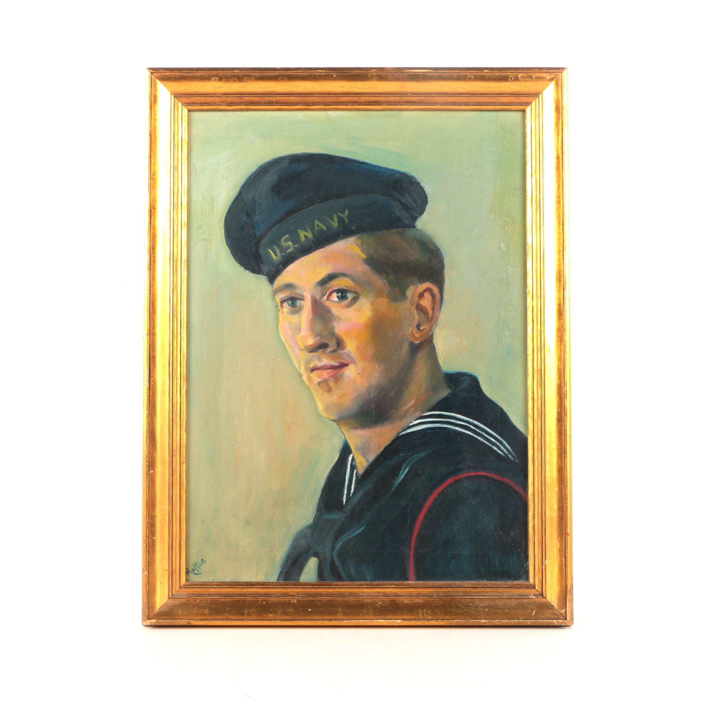 Oil Painting on Canvas Portrait of Navy Service Member