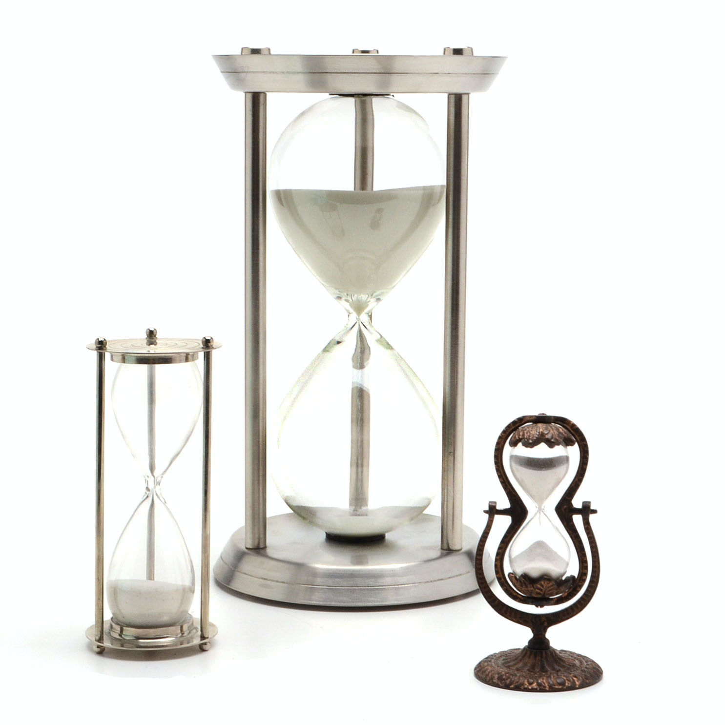 Collection of Metal Framed Hourglasses