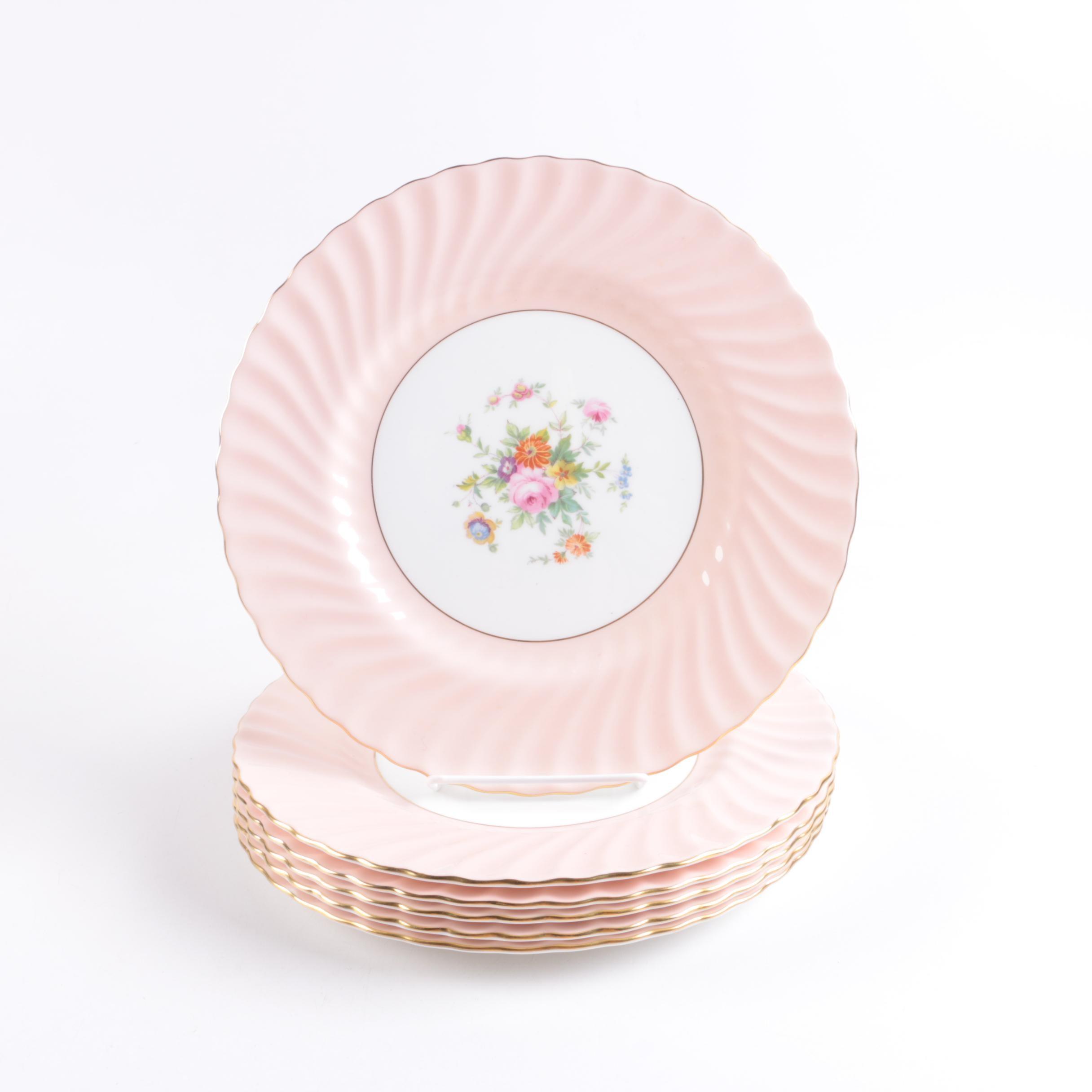 Six Minton Pink Bone China Porcelain Plates